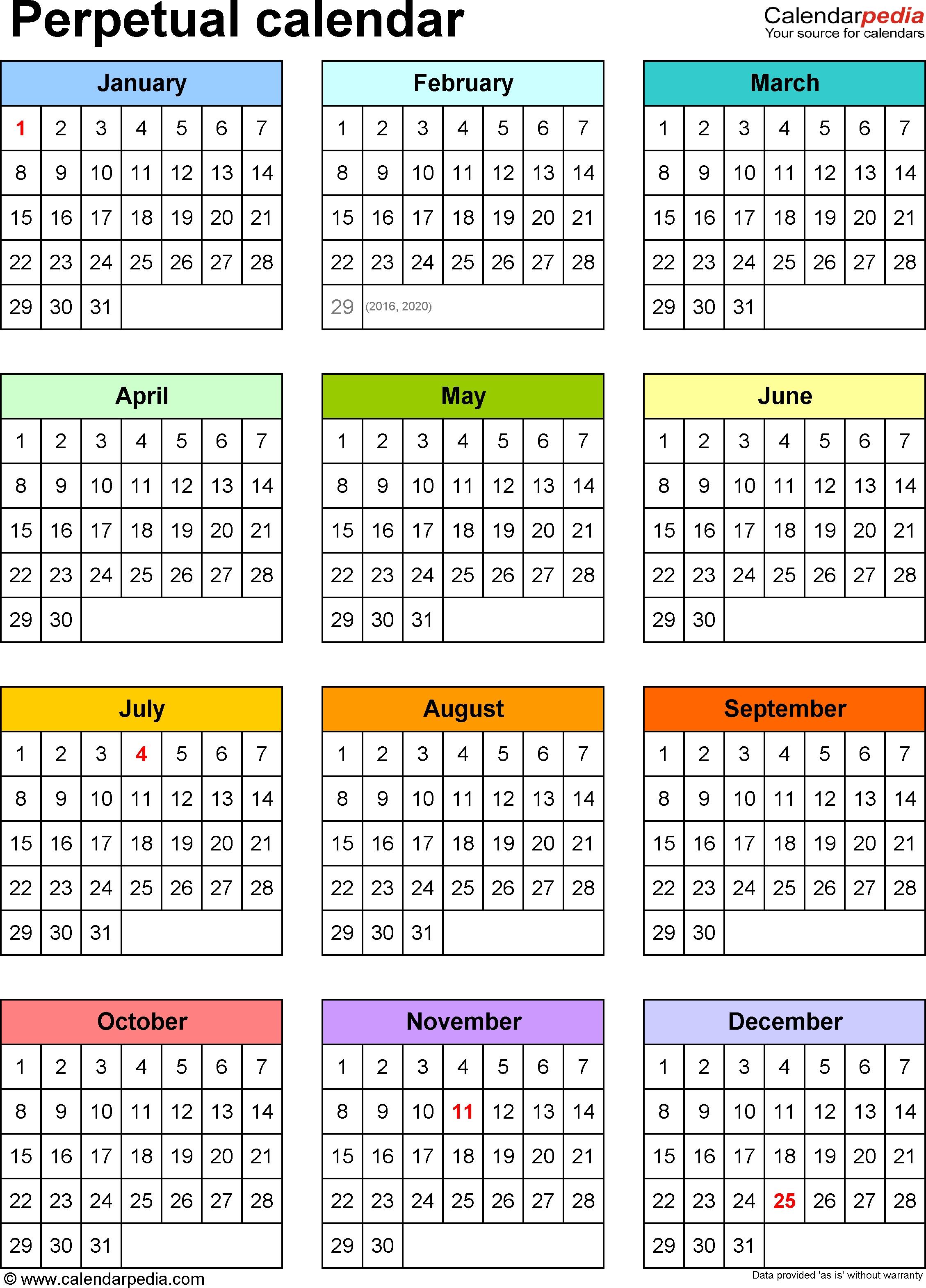 Perpetual Calendars - 7 Free Printable Word Templates