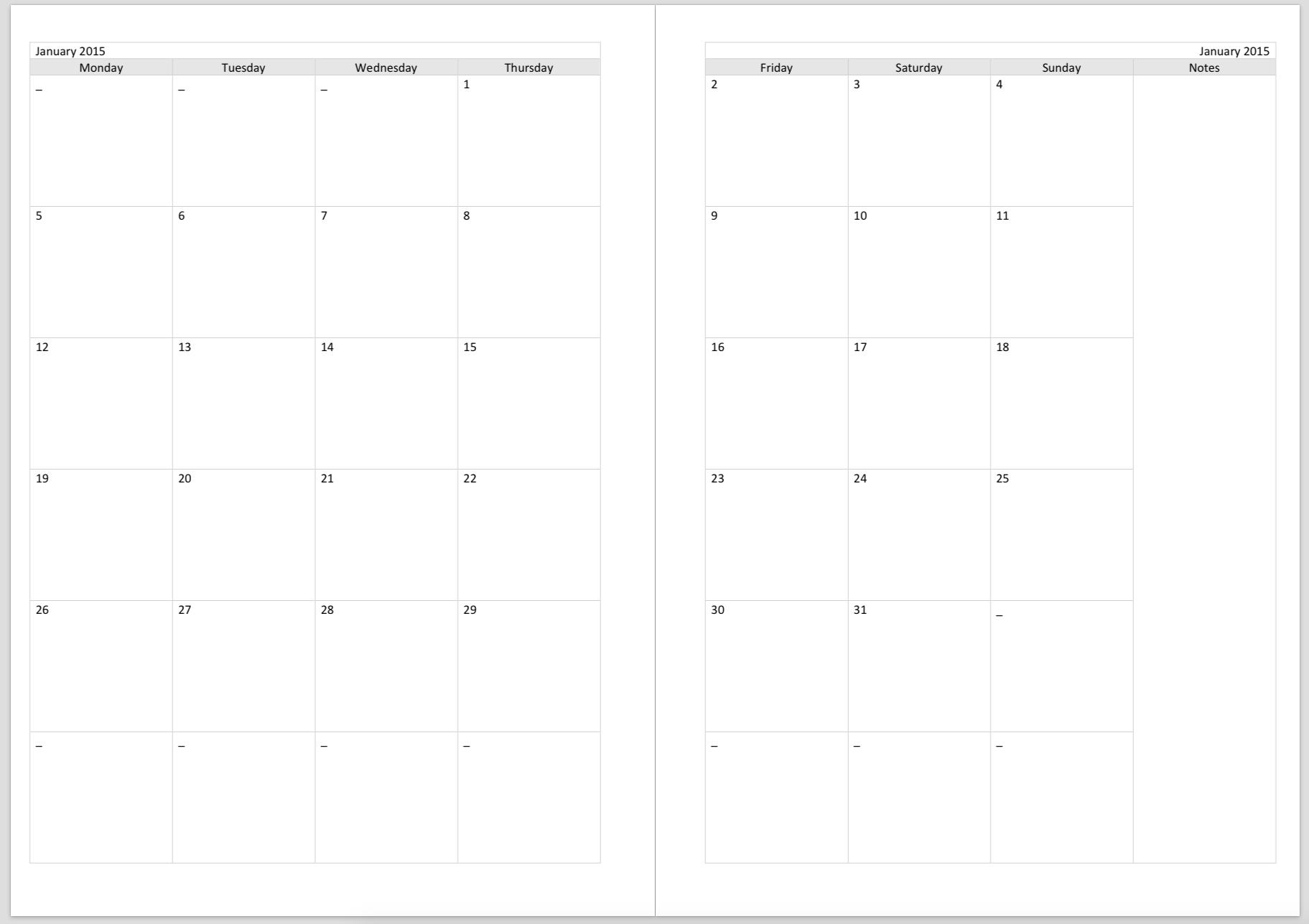 Free Printable Calendar A5 | Ten Free Printable Calendar ...