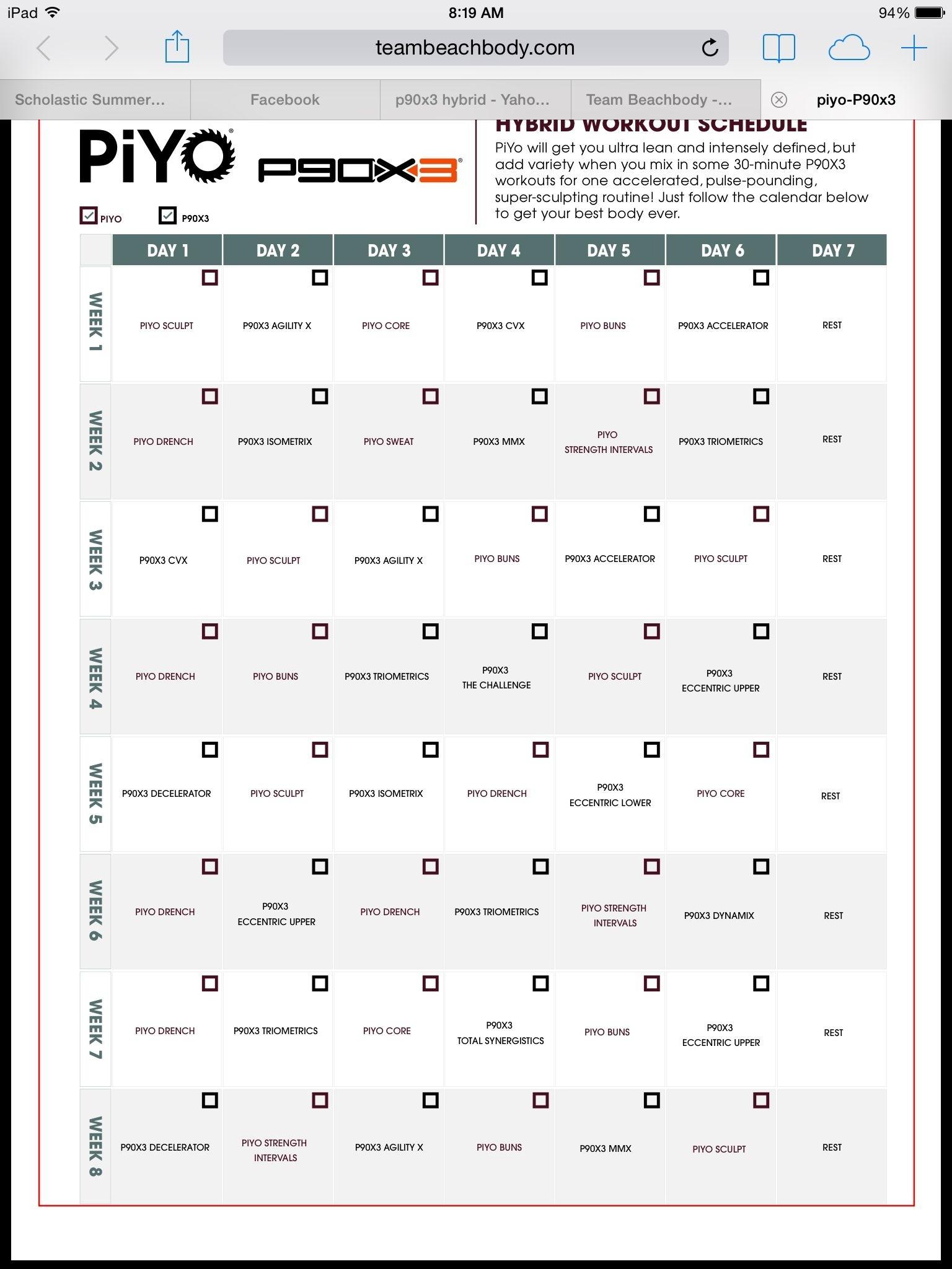 Piyo/p90X3 Hybrid | Piyo | Pinterest | Workout Schedule, Fitness And