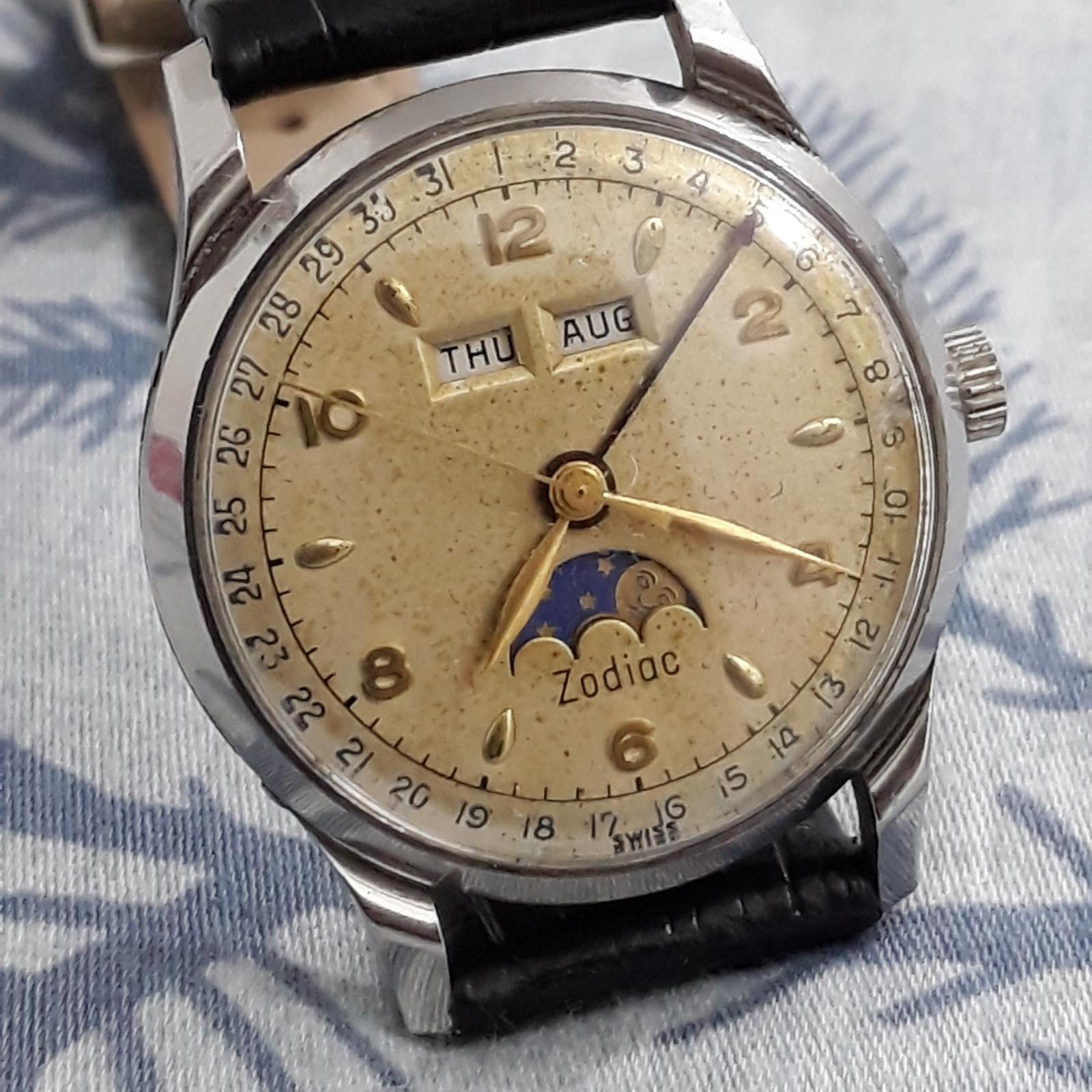 Pre-Owned Zodiac Triple Calendar Moonphase Unpolished 908 Watch