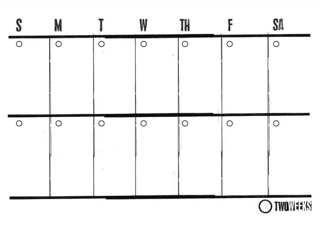 Print Blank 2 Week Calendar | Holidays Calendar Template