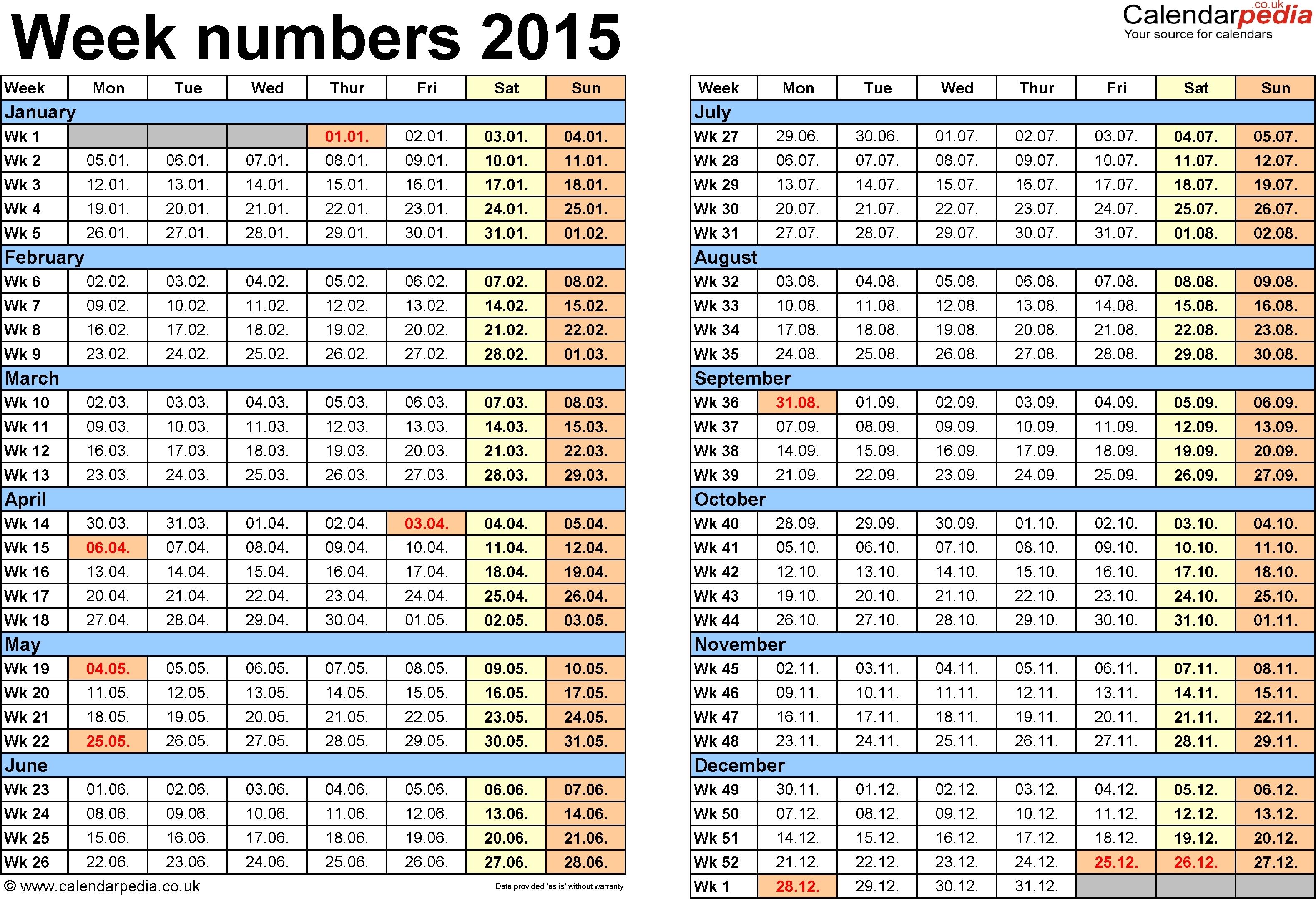Printable 2015 Calendar With Week Numbers - Printable Calendar