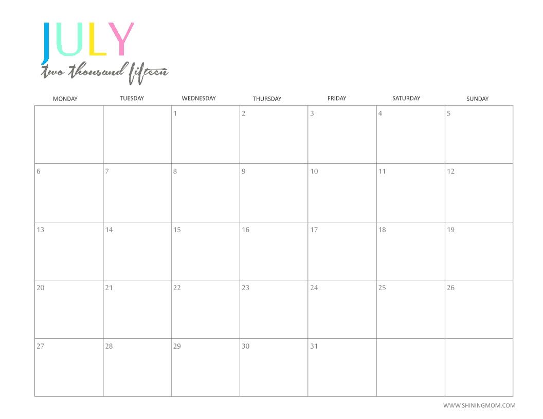 Printable: 2015 Printable Calendar Imom