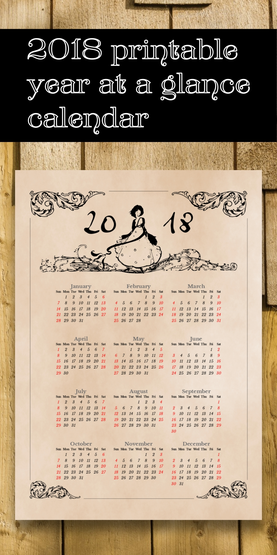 Printable 2018 Year At A Glance Calendar With Simulated Aged Paper