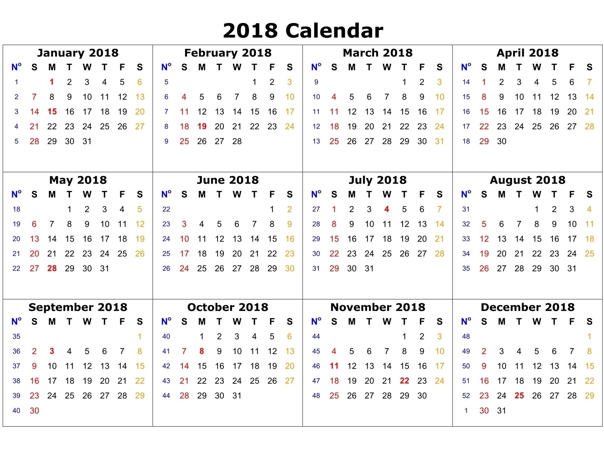 Printable Calendar 2018 Templates | Print Calendar Template