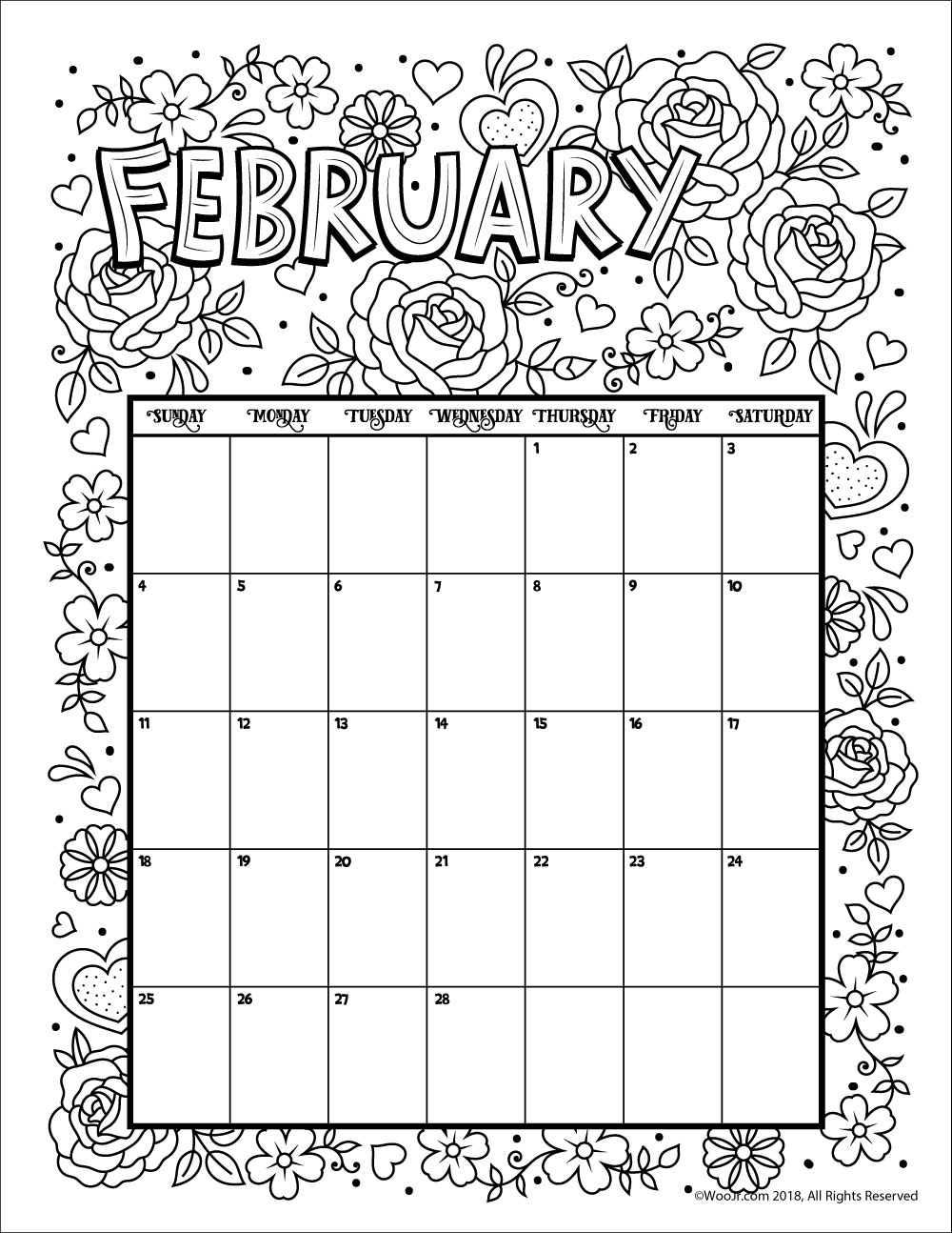 Free Printable Calendar Coloring Pages | Ten Free ...