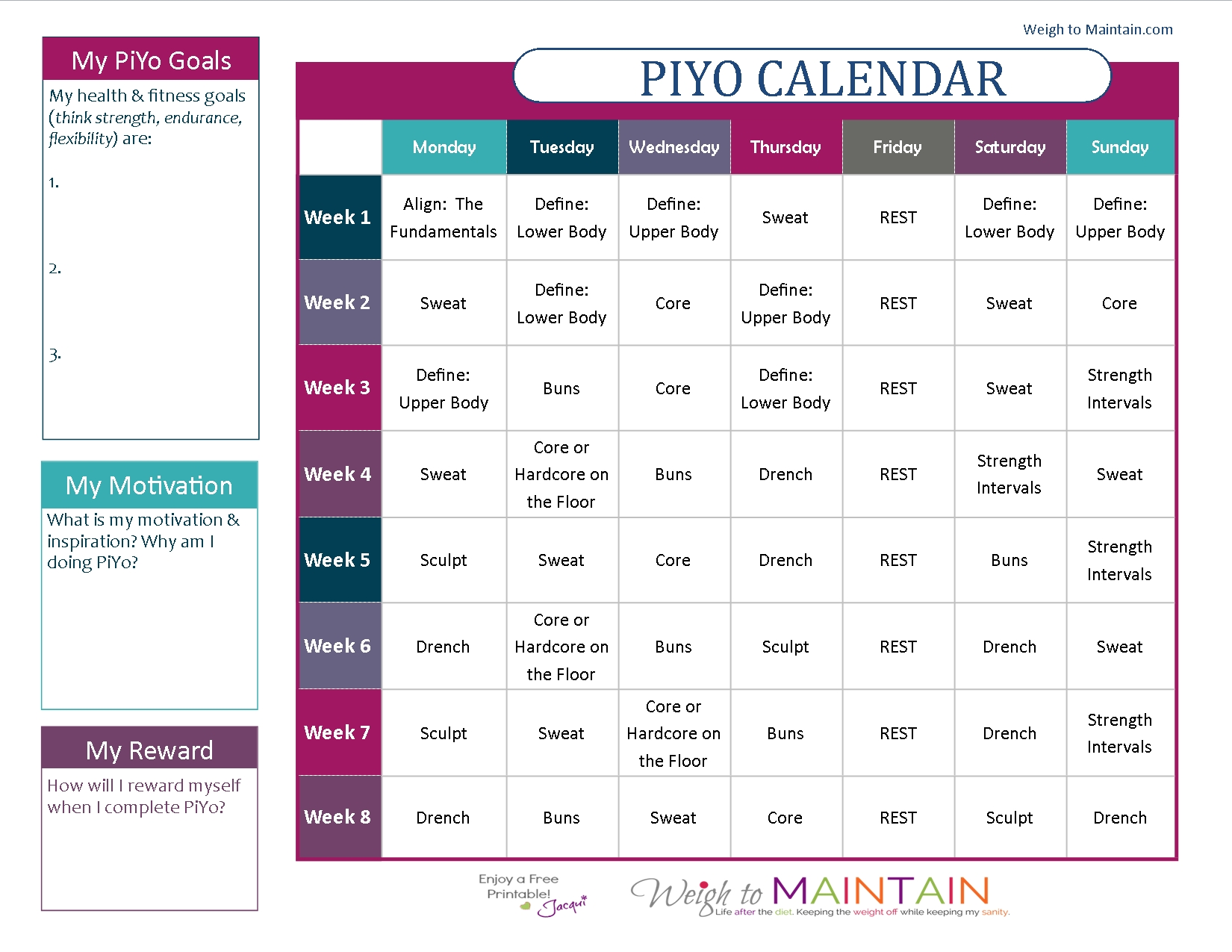Printable Piyo Calendar And Workout Schedule - Weigh To Maintain