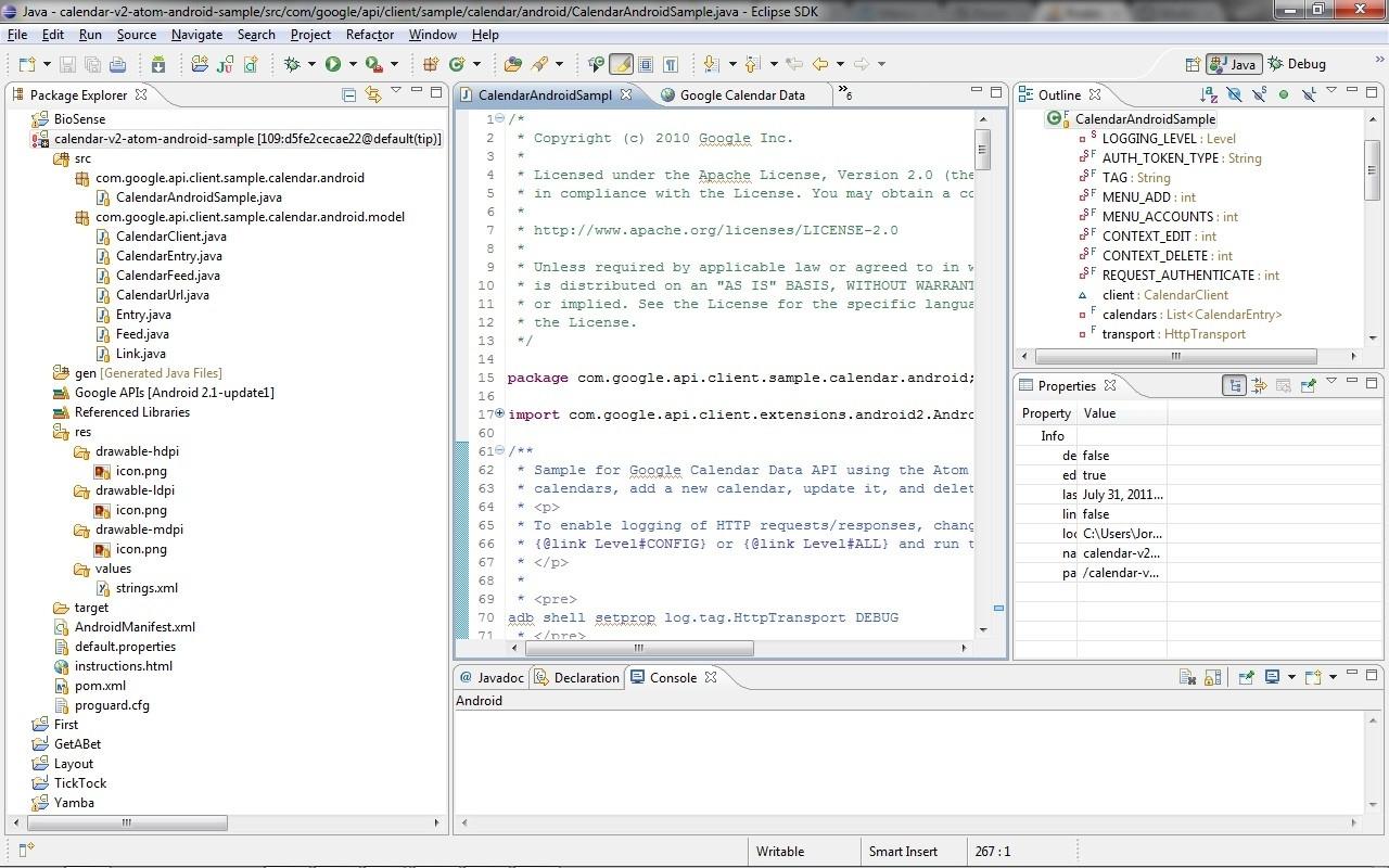 Problem Setting Up Google Client Java Api Calendar Sample For