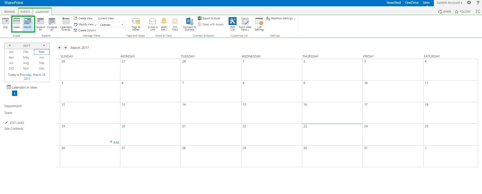 Sharepoint Server - How To Call A Function Of Month And Week View In