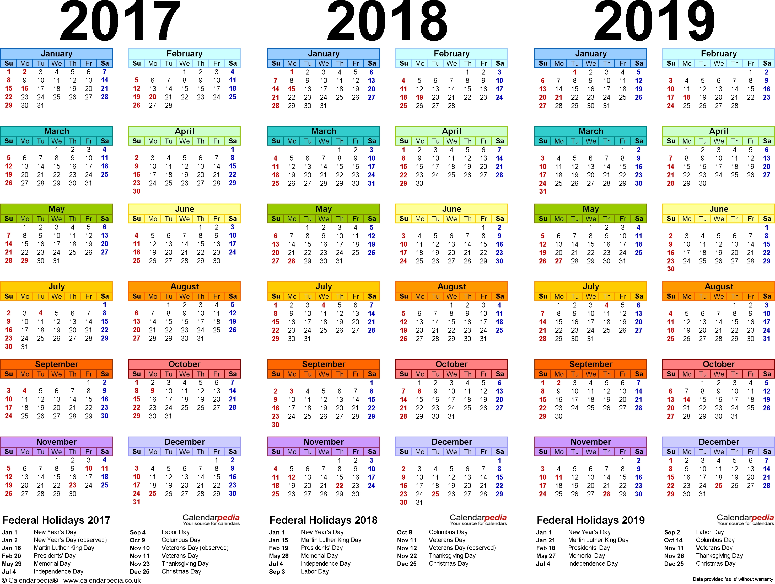 Template 1: Pdf Template For Three Year Calendar 2017/2018/2019
