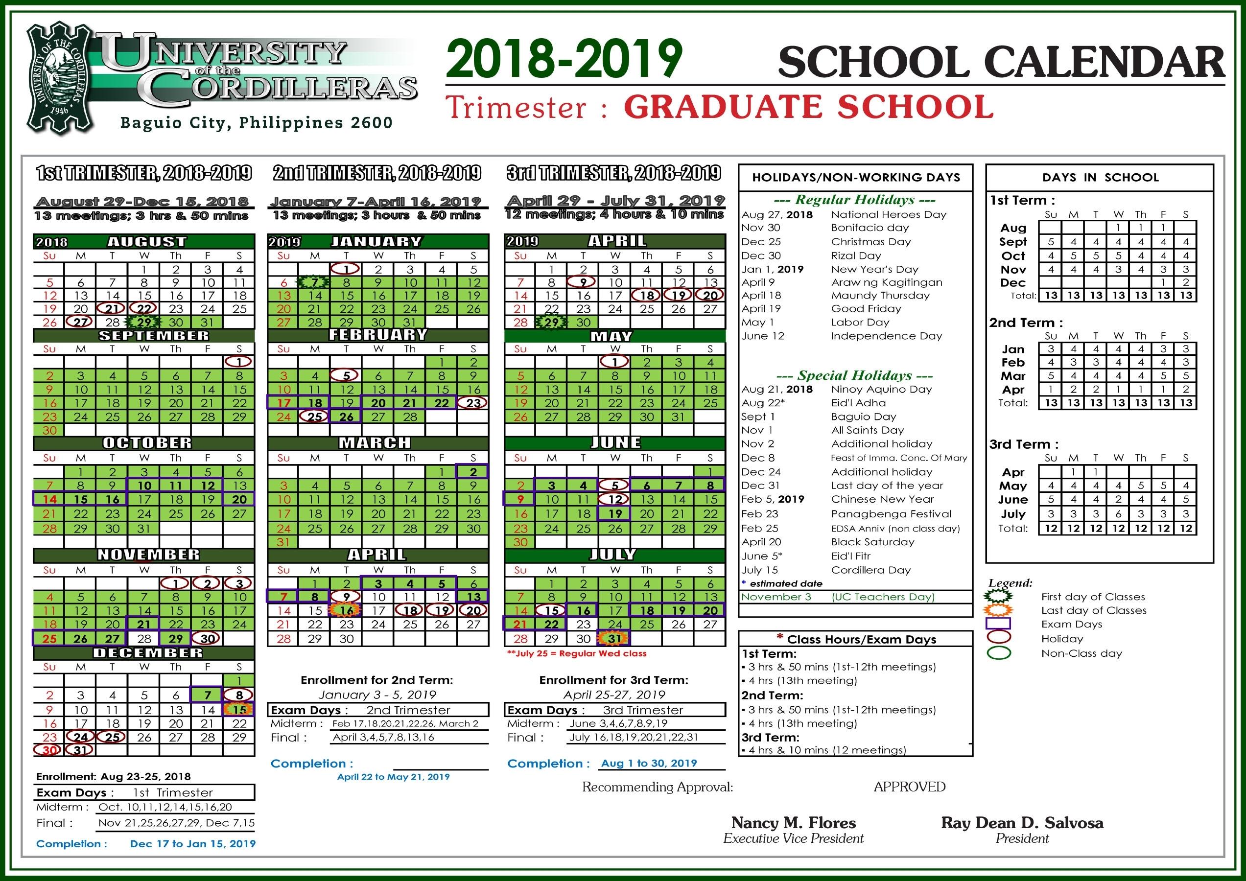 Uc School Calendar For Sy 2018-2019 - University Of The Cordilleras