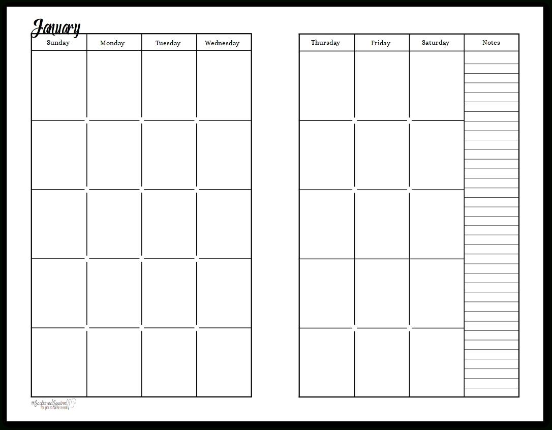 Free Printable Undated Calendar | Ten Free Printable ...