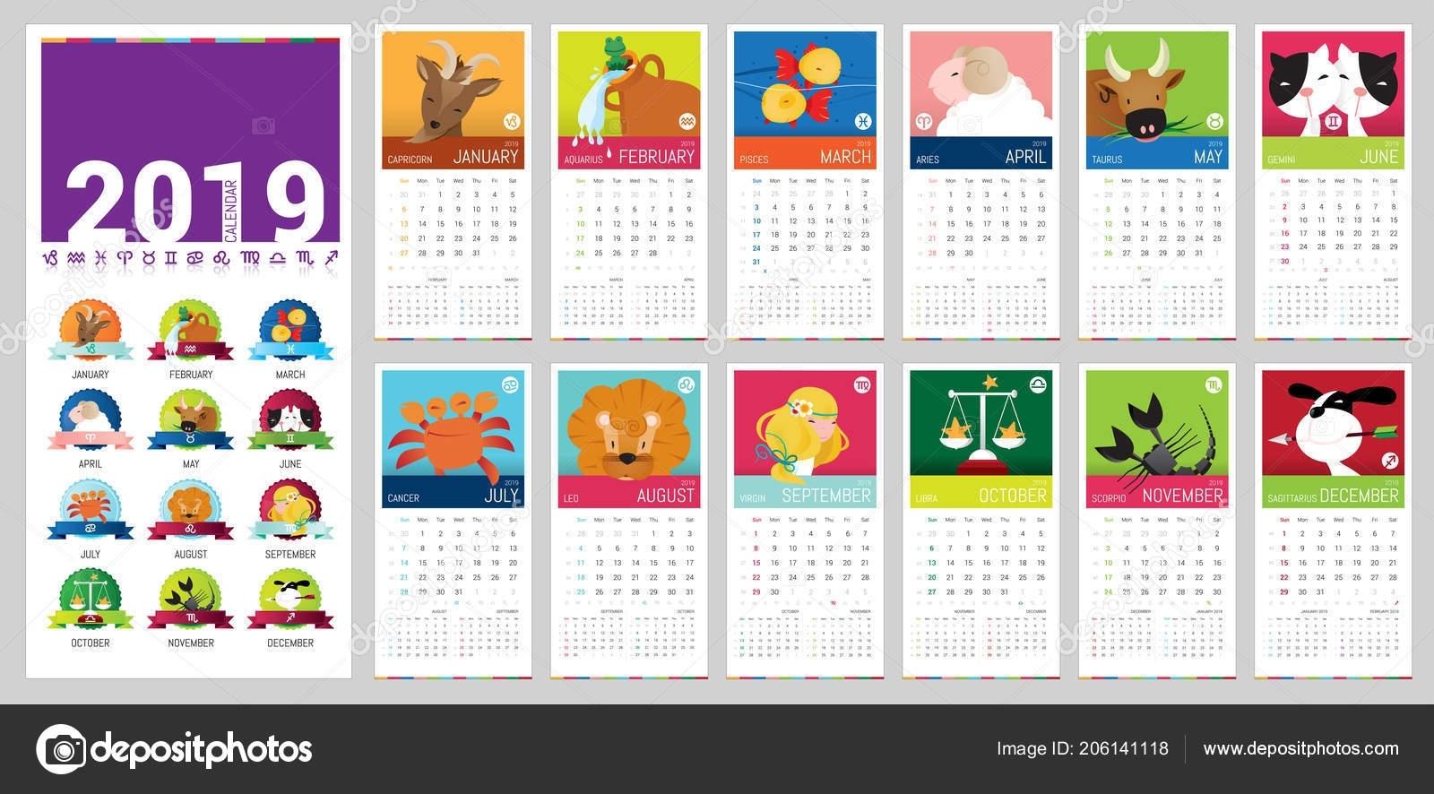 Vector 2019 Complete Calendar Illustrated Cute Cartoon Zodiac Signs