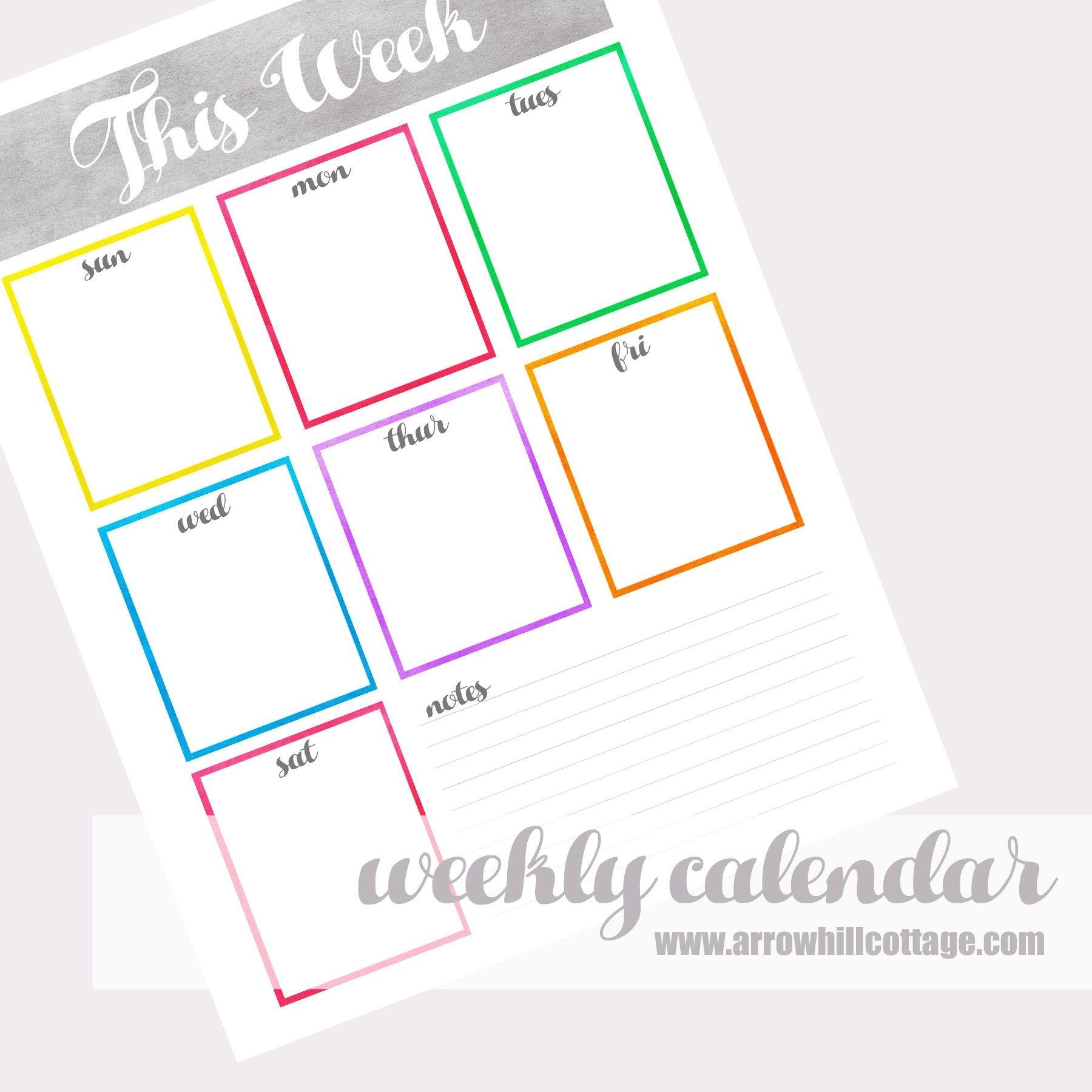 Week At A Glance Calendar Pdf Fill In The Blank Calendar   Life