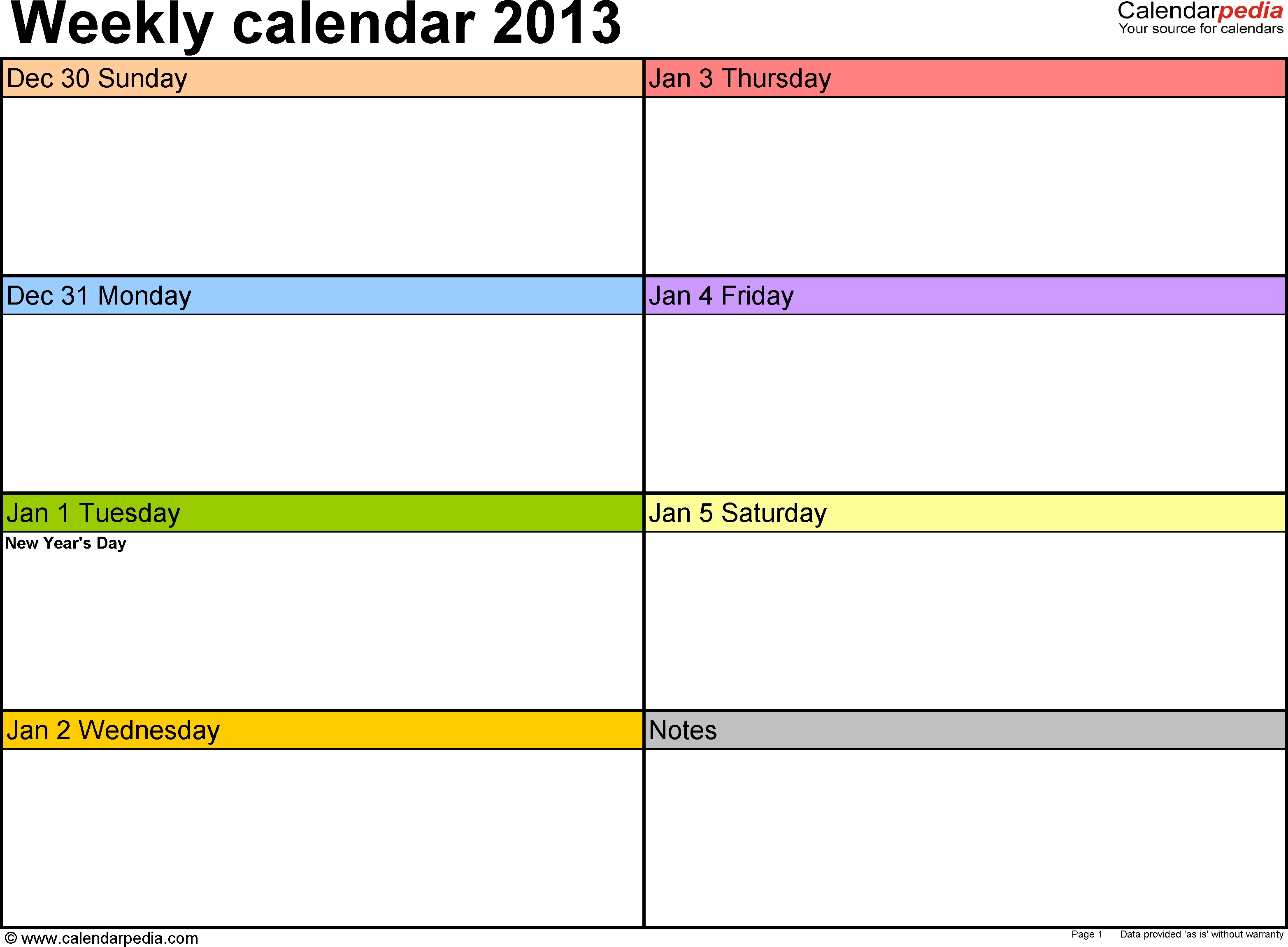 Weekly Calendar 2013 For Word - 4 Free Printable Templates