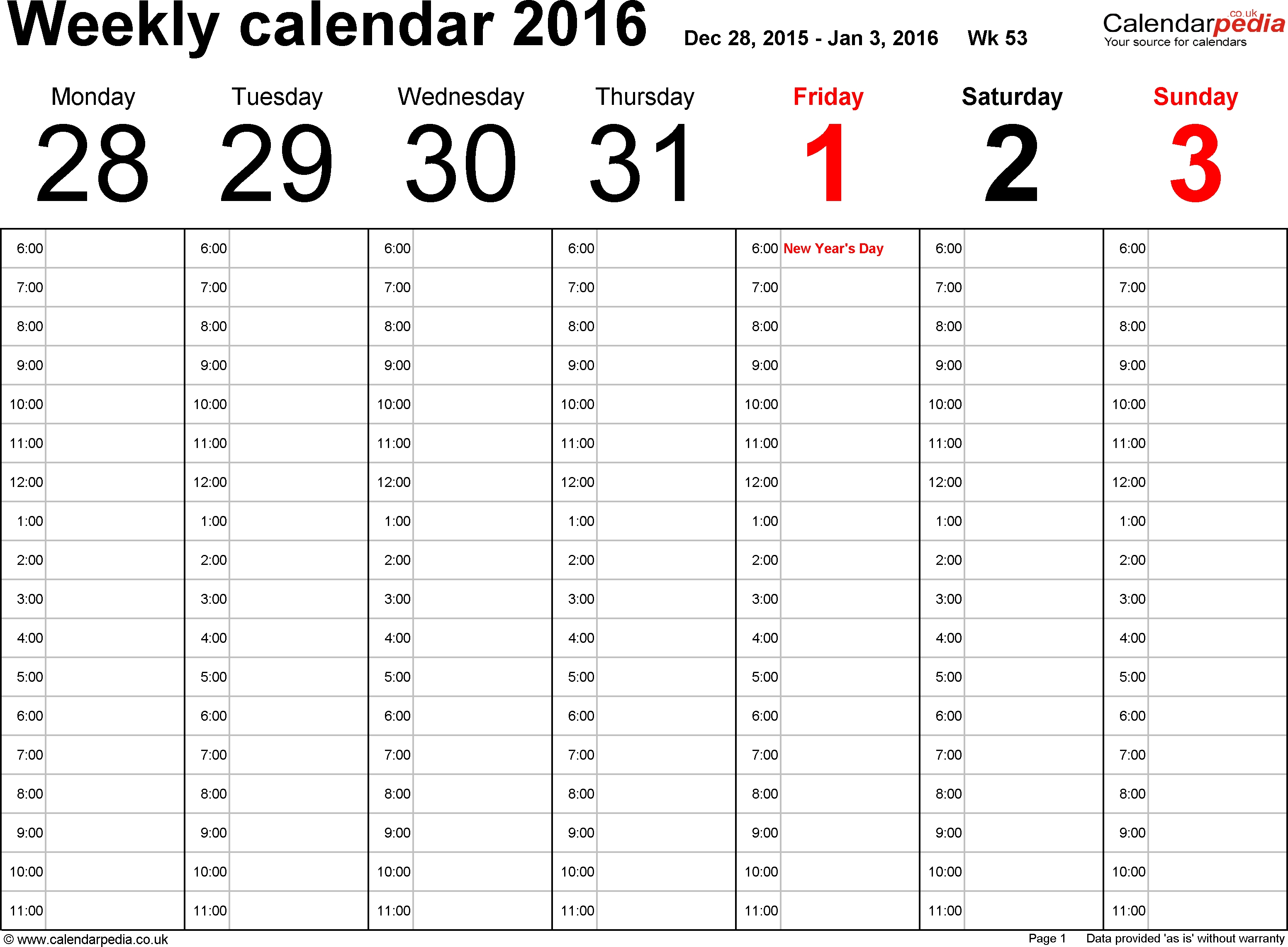 Weekly Calendar 2016 Uk - Free Printable Templates For Excel