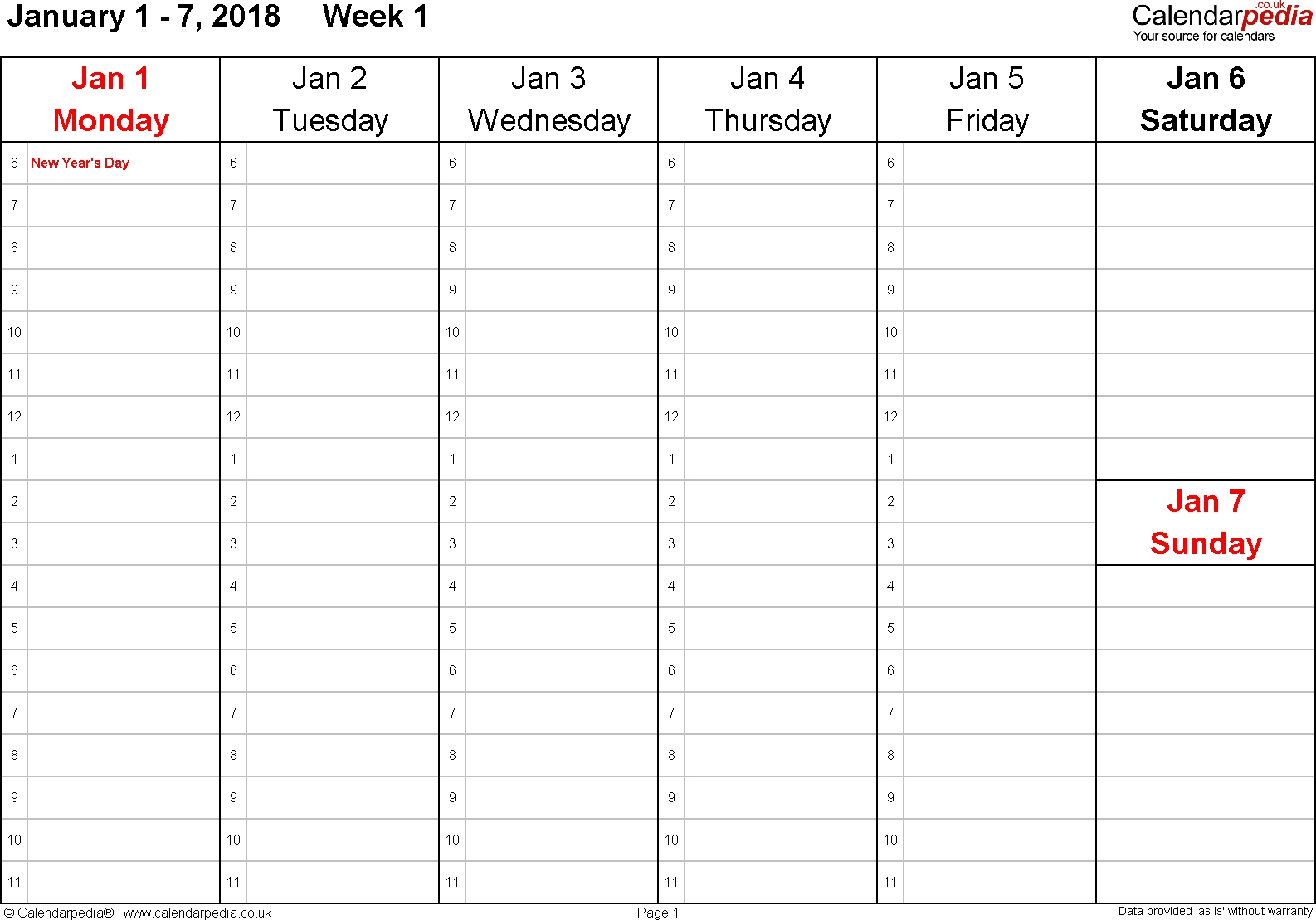 Weekly Calendar 2018 Uk - Free Printable Templates For Word