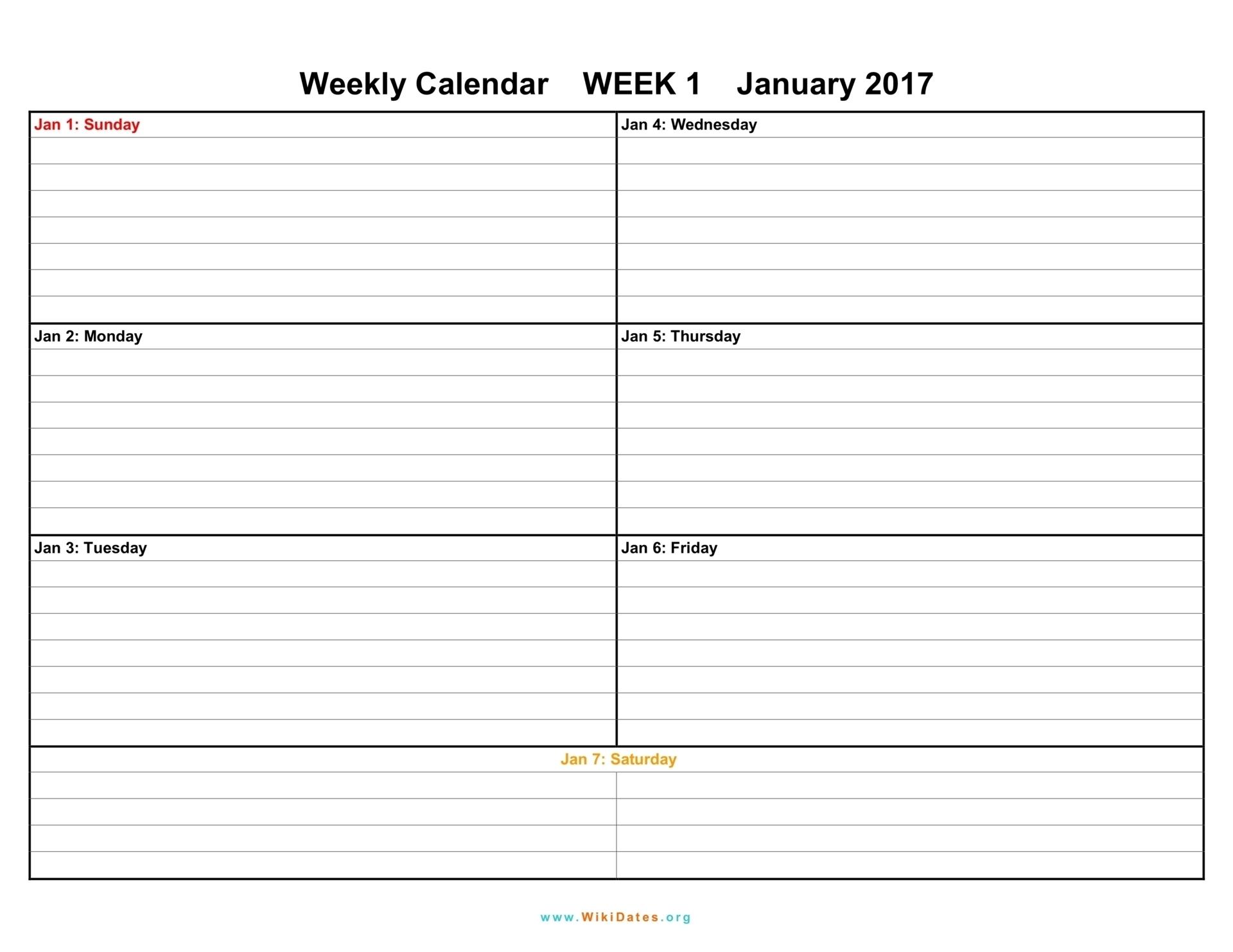 Weekly Calendar 2018 Uk – Free Printable Templates For Word