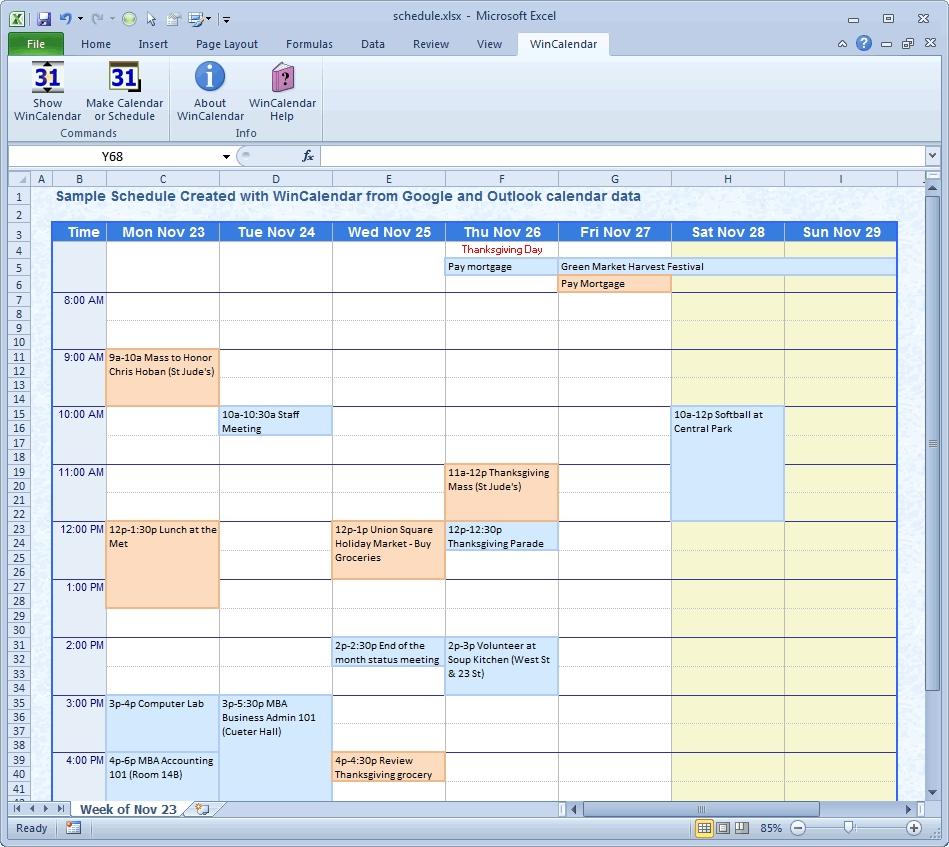 create a weekly calendar in excel
