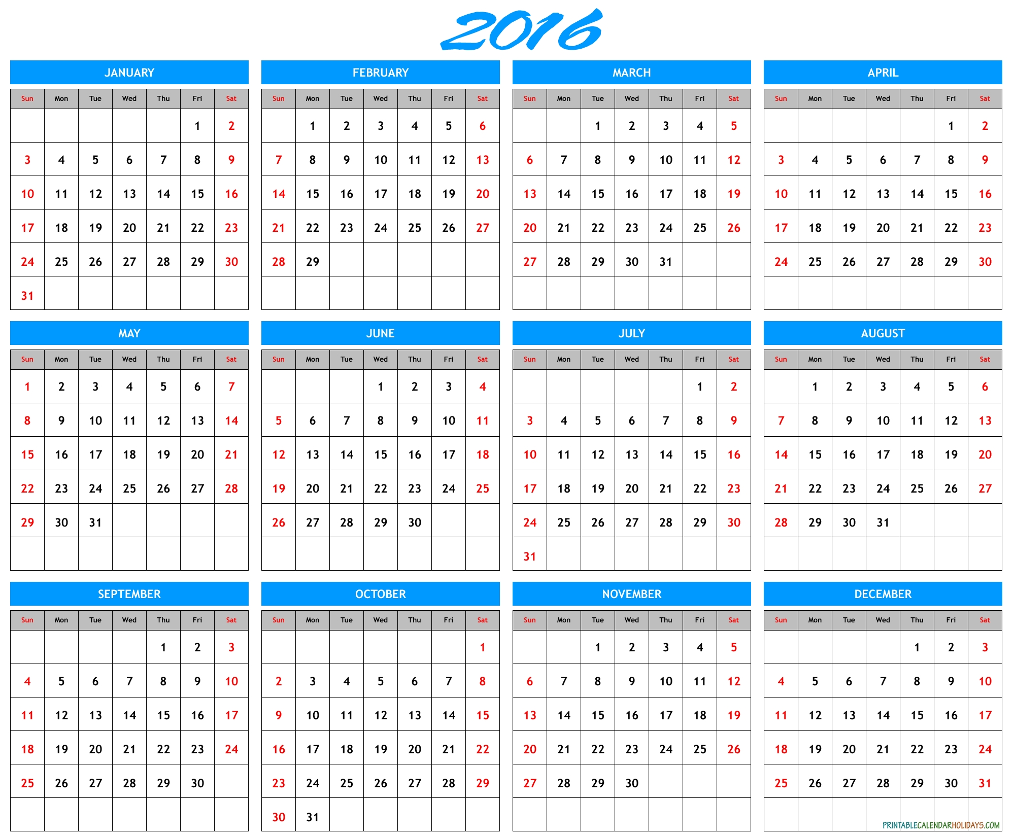 2016 Yearly Calendar Template In Landscape Format - Printable 2017
