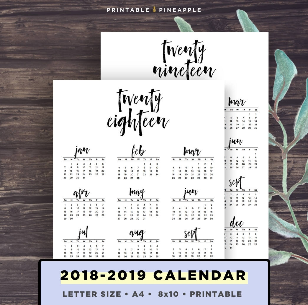 2018-2019 Calendar Printable Printable Calendar Brush | Etsy