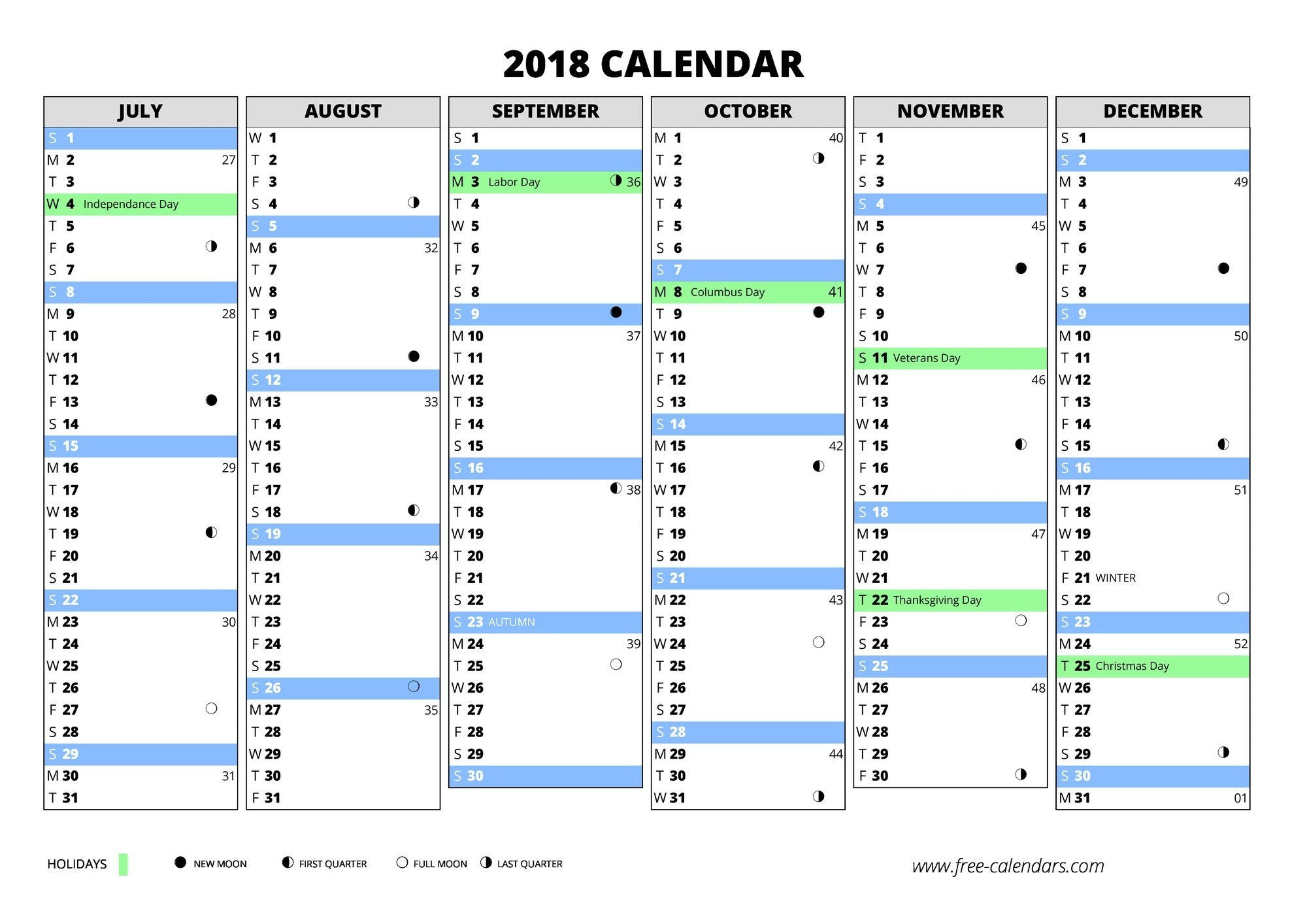 2018 Calendar With Week Numbers | Thegioithamdep