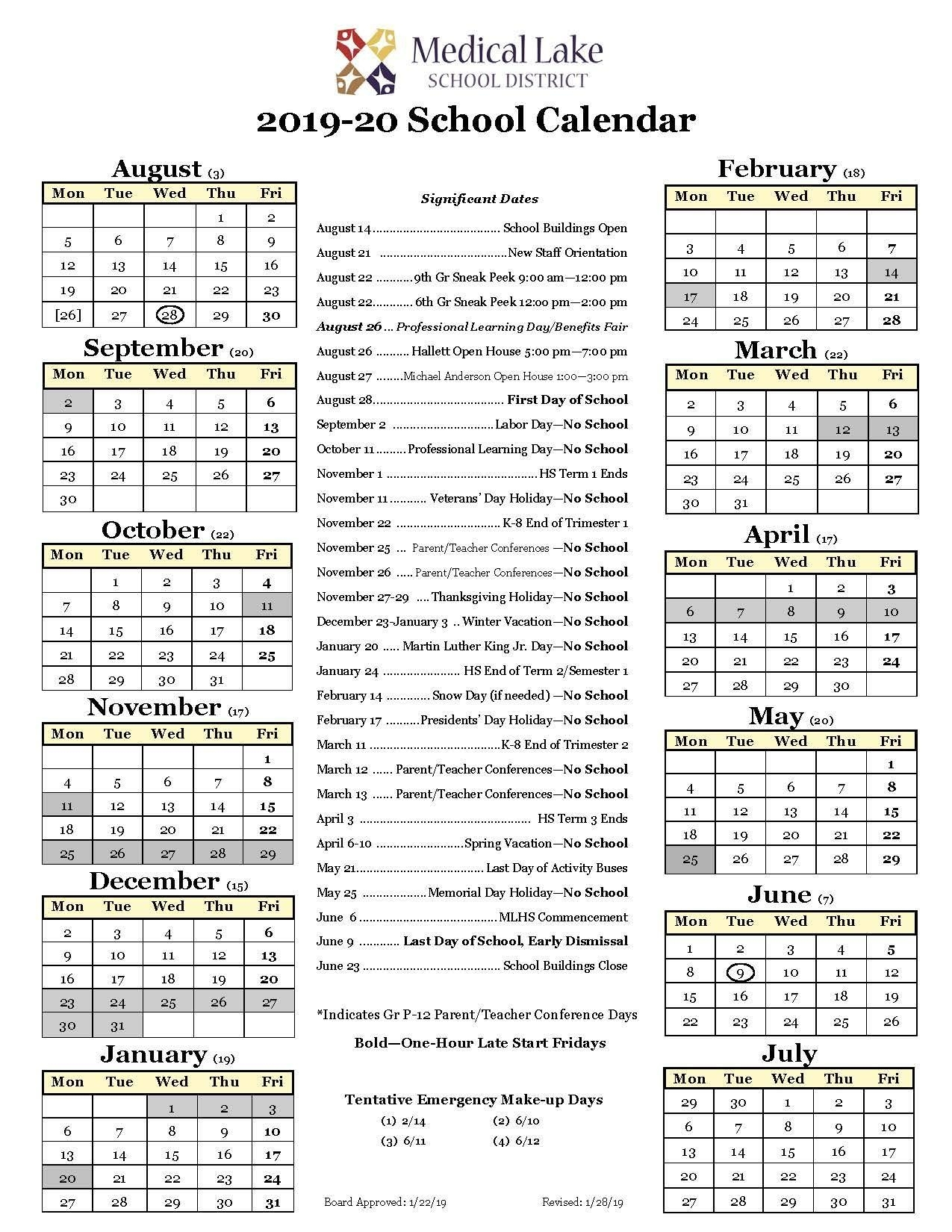 2019-20 School Year Calendar – Student / Parent Resources – Medical