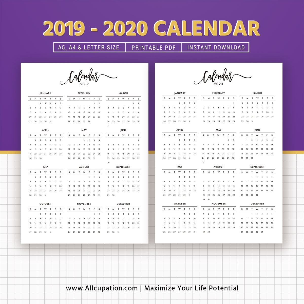 2019-2020 Calendar, Printable Calendar, Planner Design, Best Planner