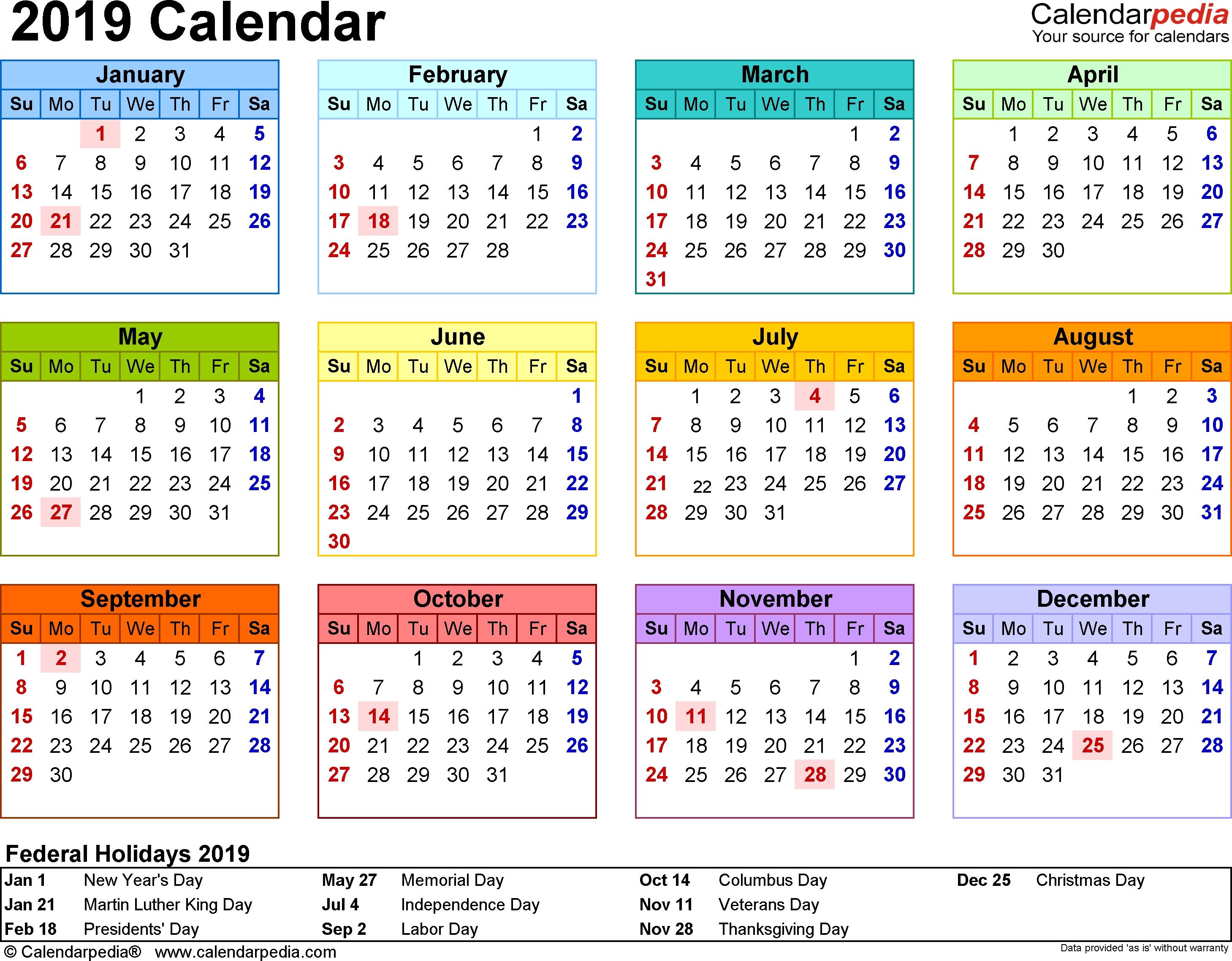 2019 Calendar Pdf - 17 Free Printable Calendar Templates