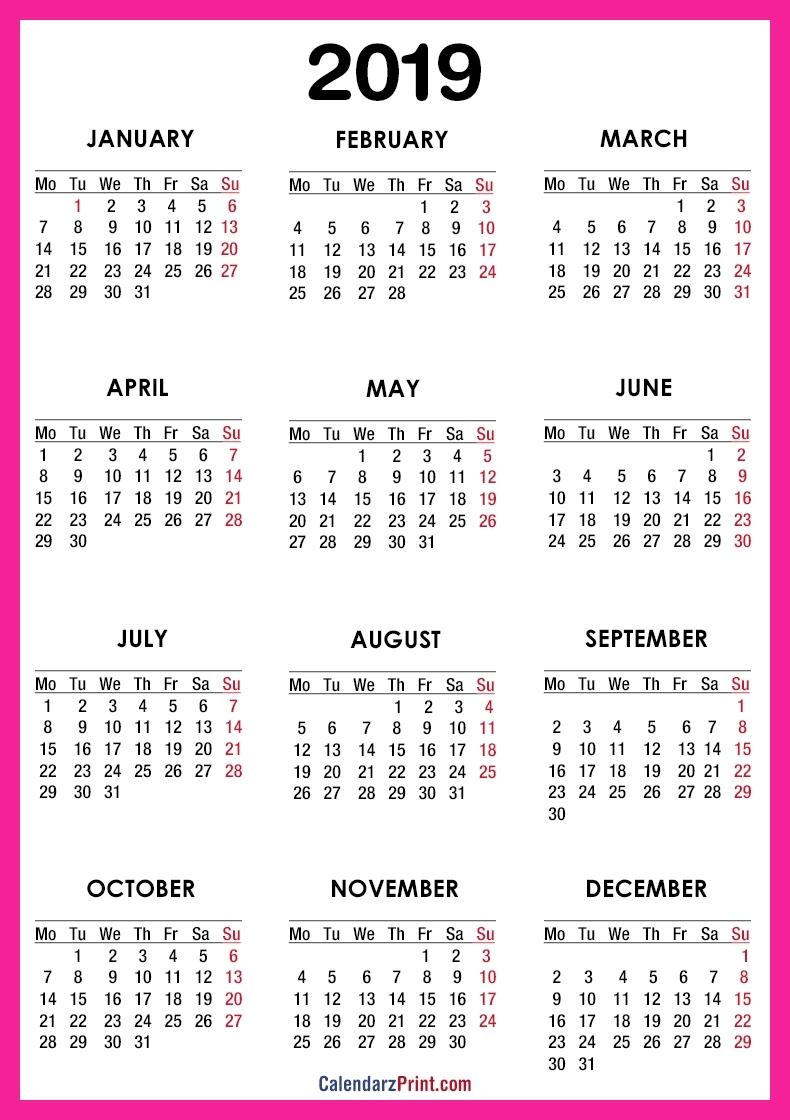 2019 Calendar – Printable – Free – Pink – Monday Start