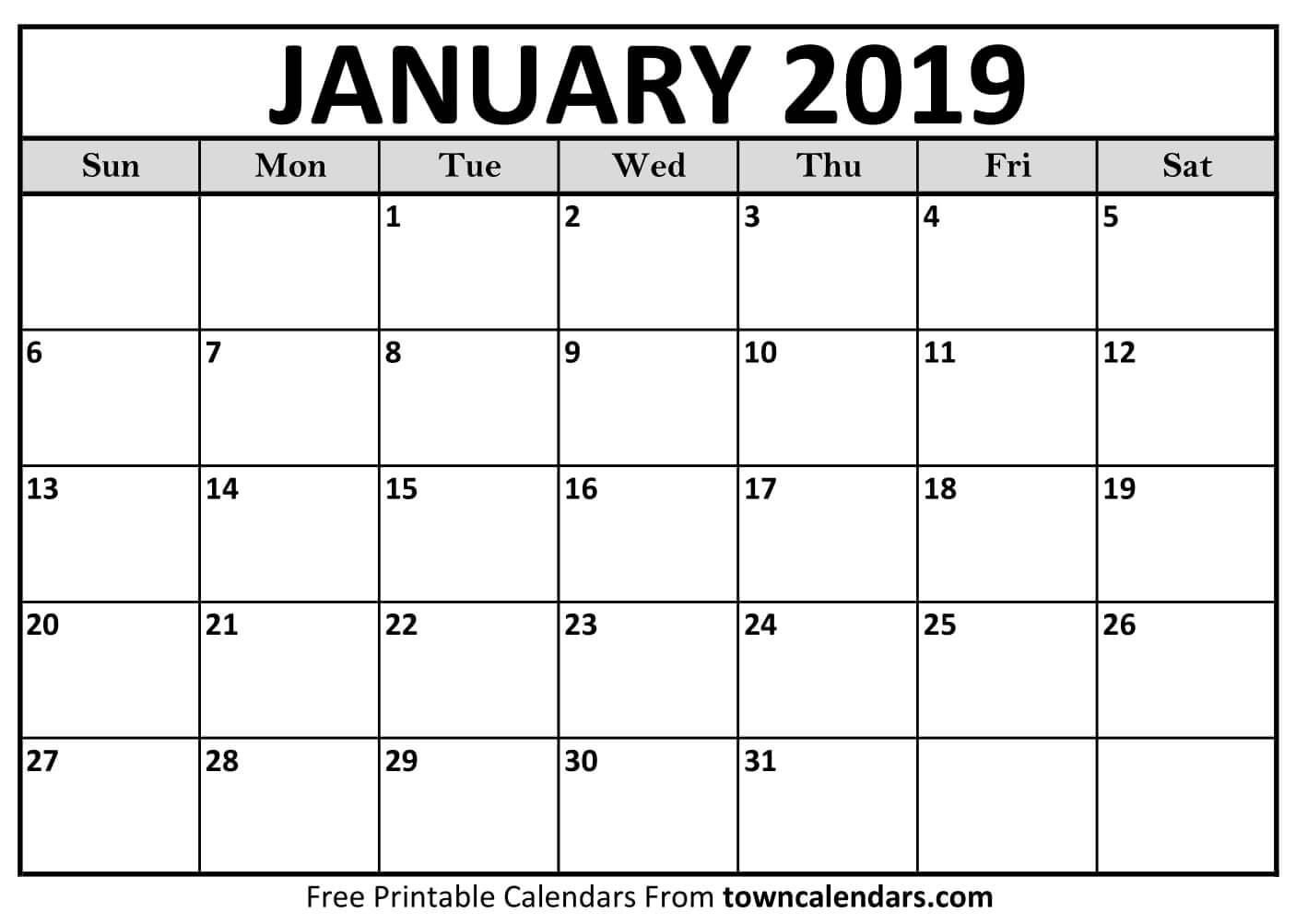 2019 Calendar Printable - Towncalendars