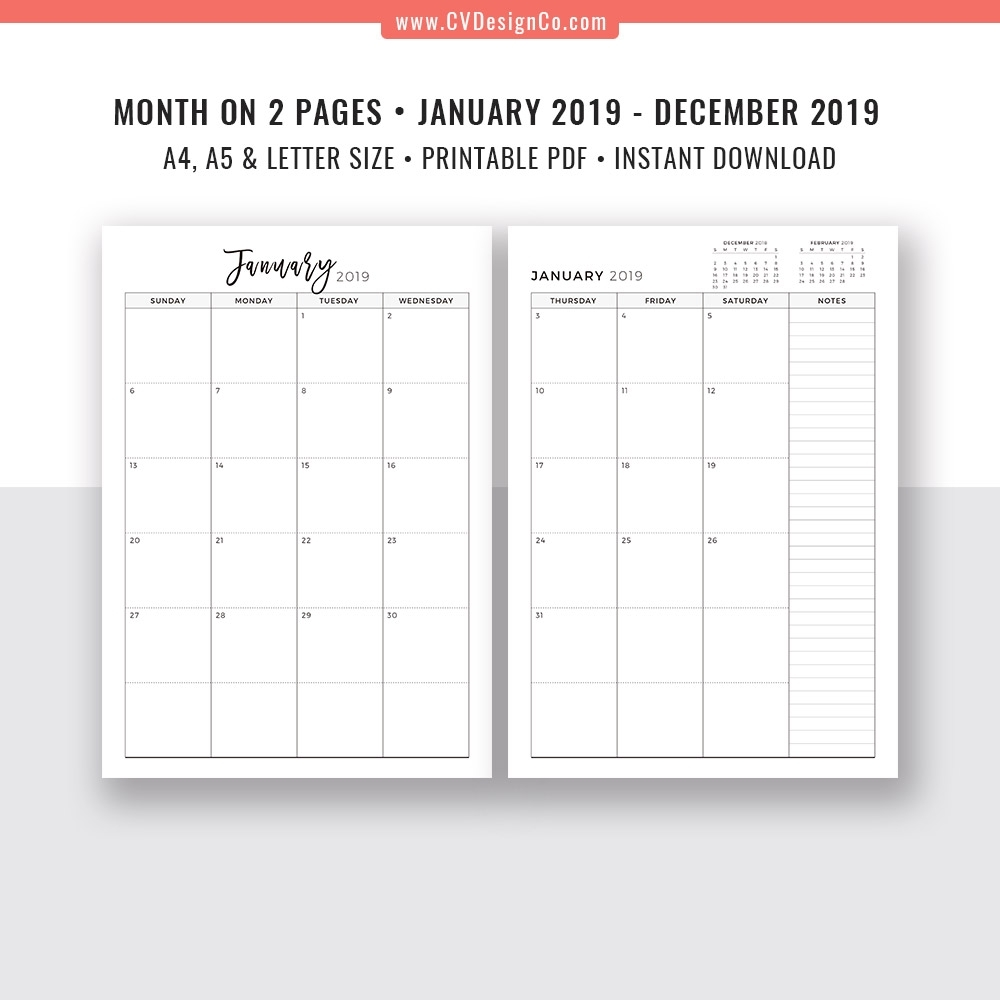 2019 Digital Monthly Planner, Monthly Calendar, Monthly Organizer
