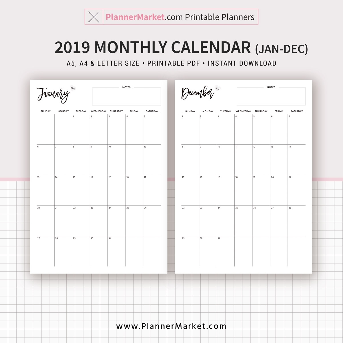 2019 Monthly Calendar, Monthly Planner, Printable Planner, A5, A4