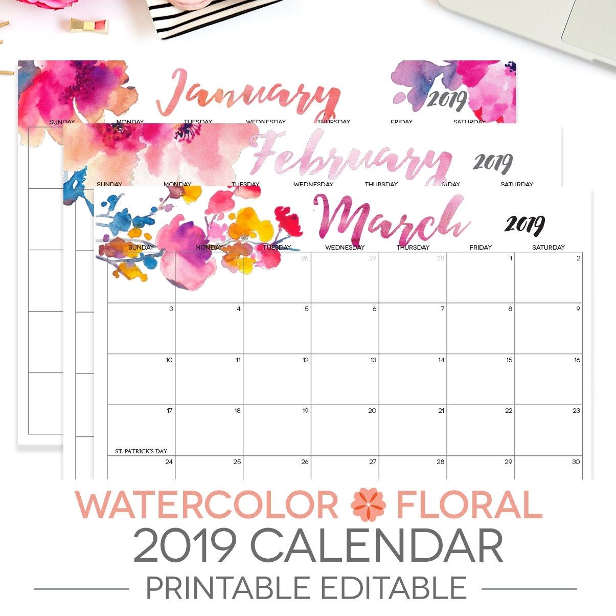2019 Printable Calendar Editable 12 Month Letter Size | Etsy