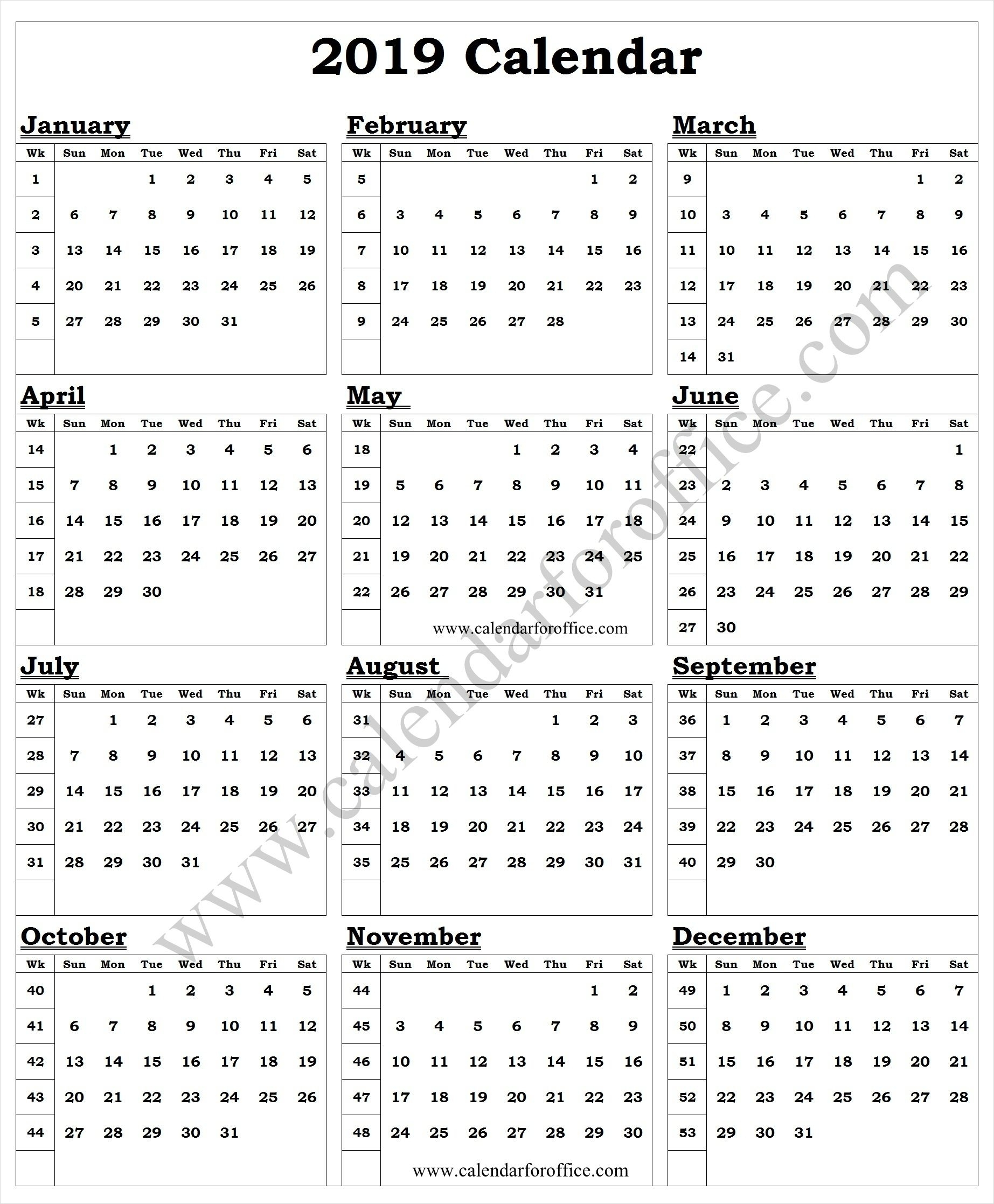 2019 Year Calendar With Week Numbers | 2019 Yearly Calendar