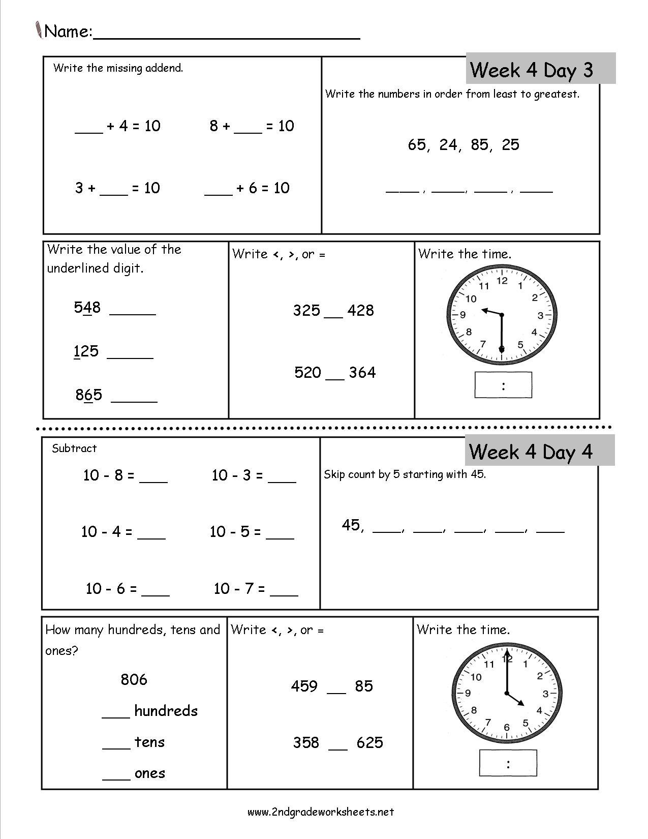 2Nd Grade Daily Math Worksheets