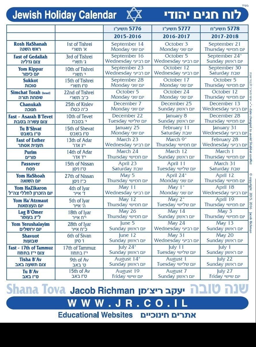 3 Year Jewish Holiday Calendar 5776-5778 / 2015-2018 | Thee Year