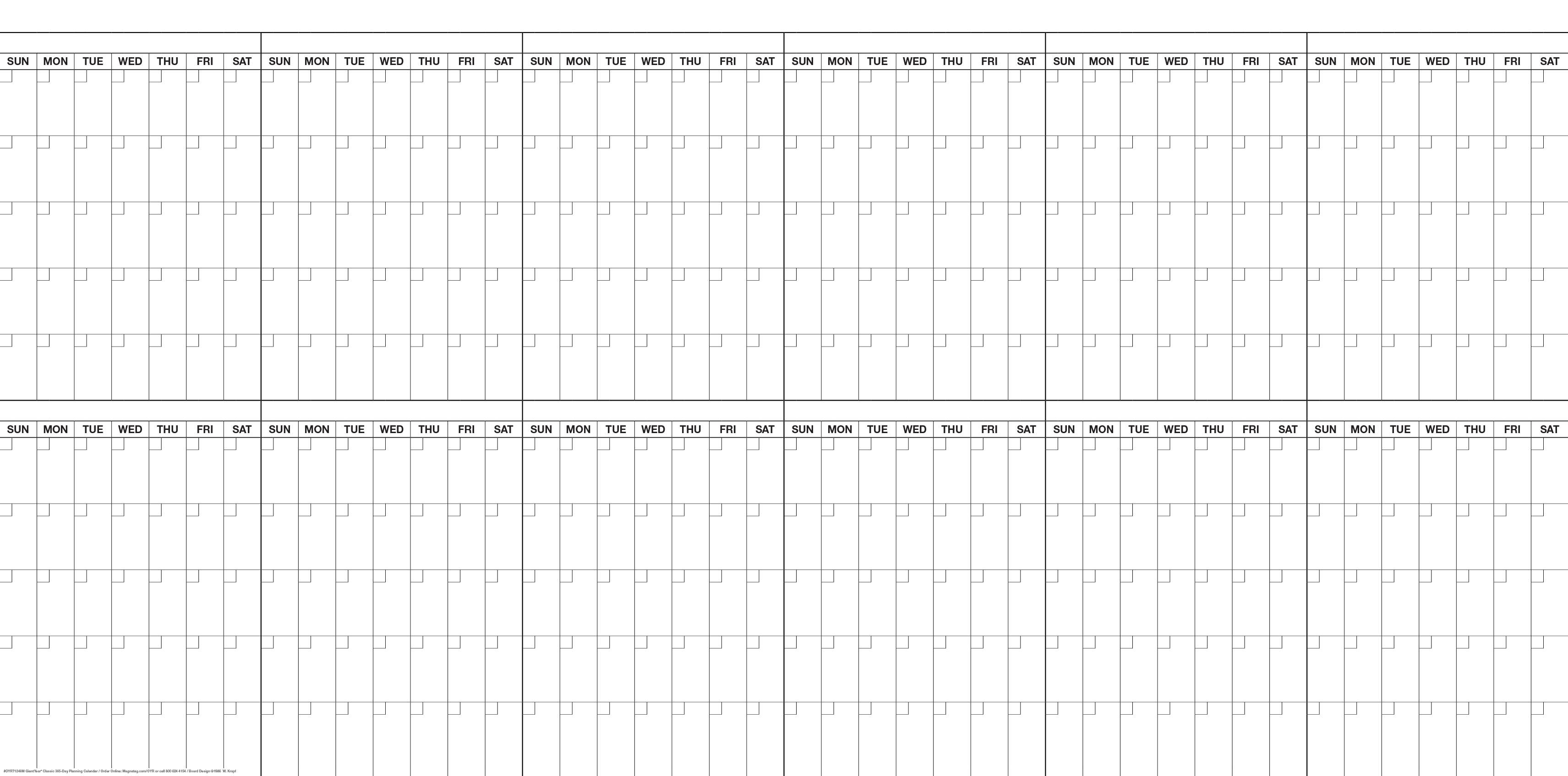 4' X 8' Magnetic Dry Erase Year Calendar/magnet Kit #oyr71248M