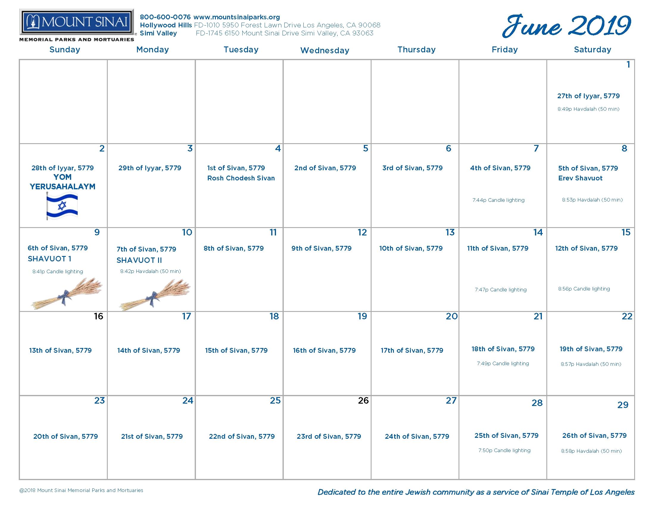 5779 Hebrew Calendar - Mount Sinai Memorial Parks And Mortuaries