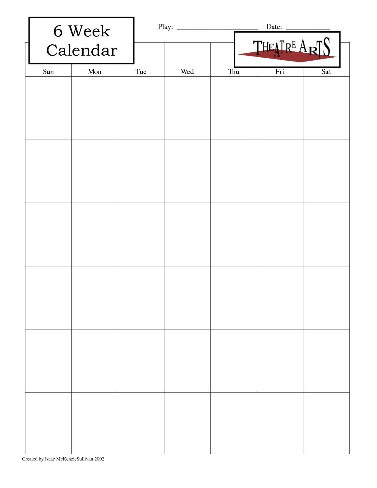 6 Week Calendar Template - Free Calendar Collection