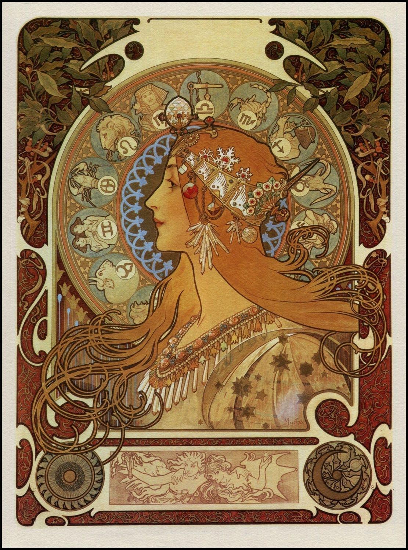 Alphonse Mucha — Zodiac Panneau — 1896   Illustrated Art In 2019