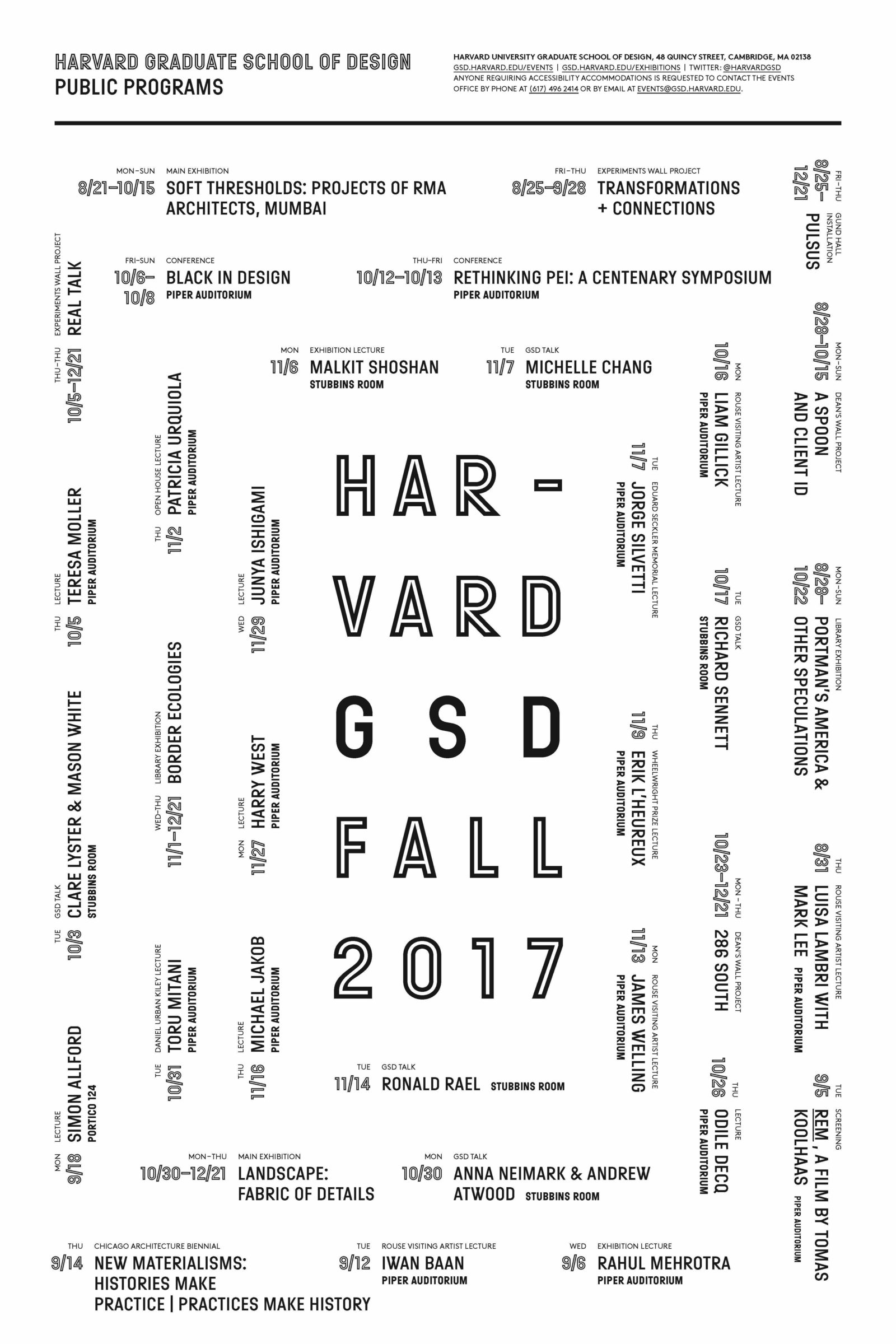 Announcing The Gsd's Fall 2017 Public Lecture Series - Harvard