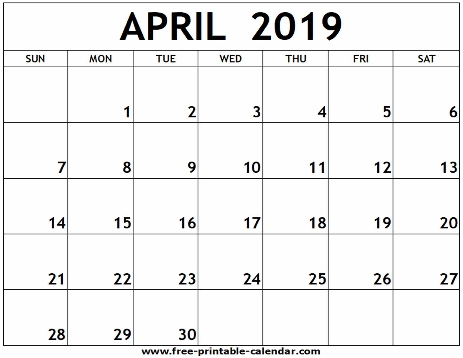April 2019 Printable Calendar - Free-Printable-Calendar