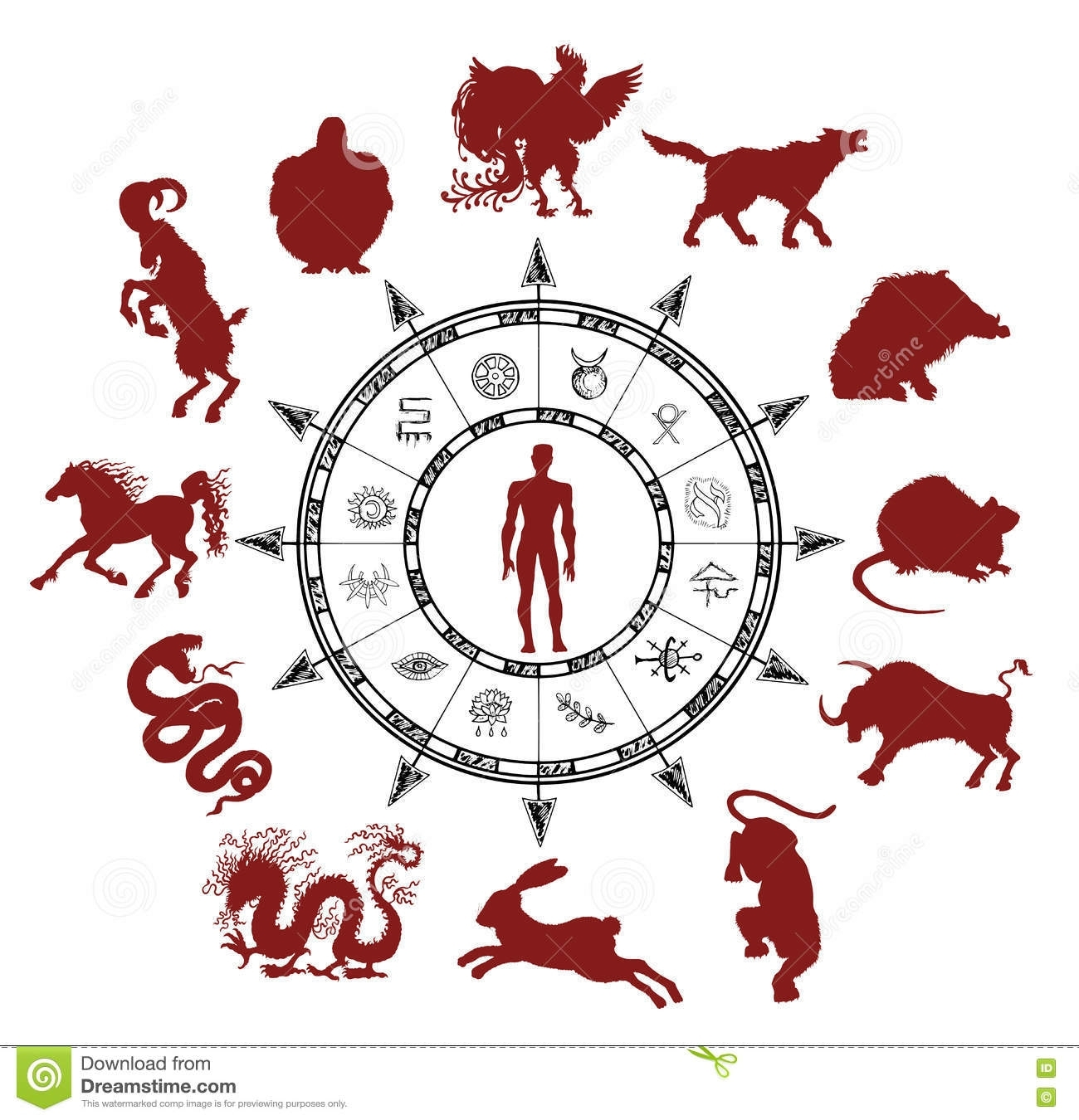 Astrology Chart With Silhouettes Of Chinese Zodiac Animals And