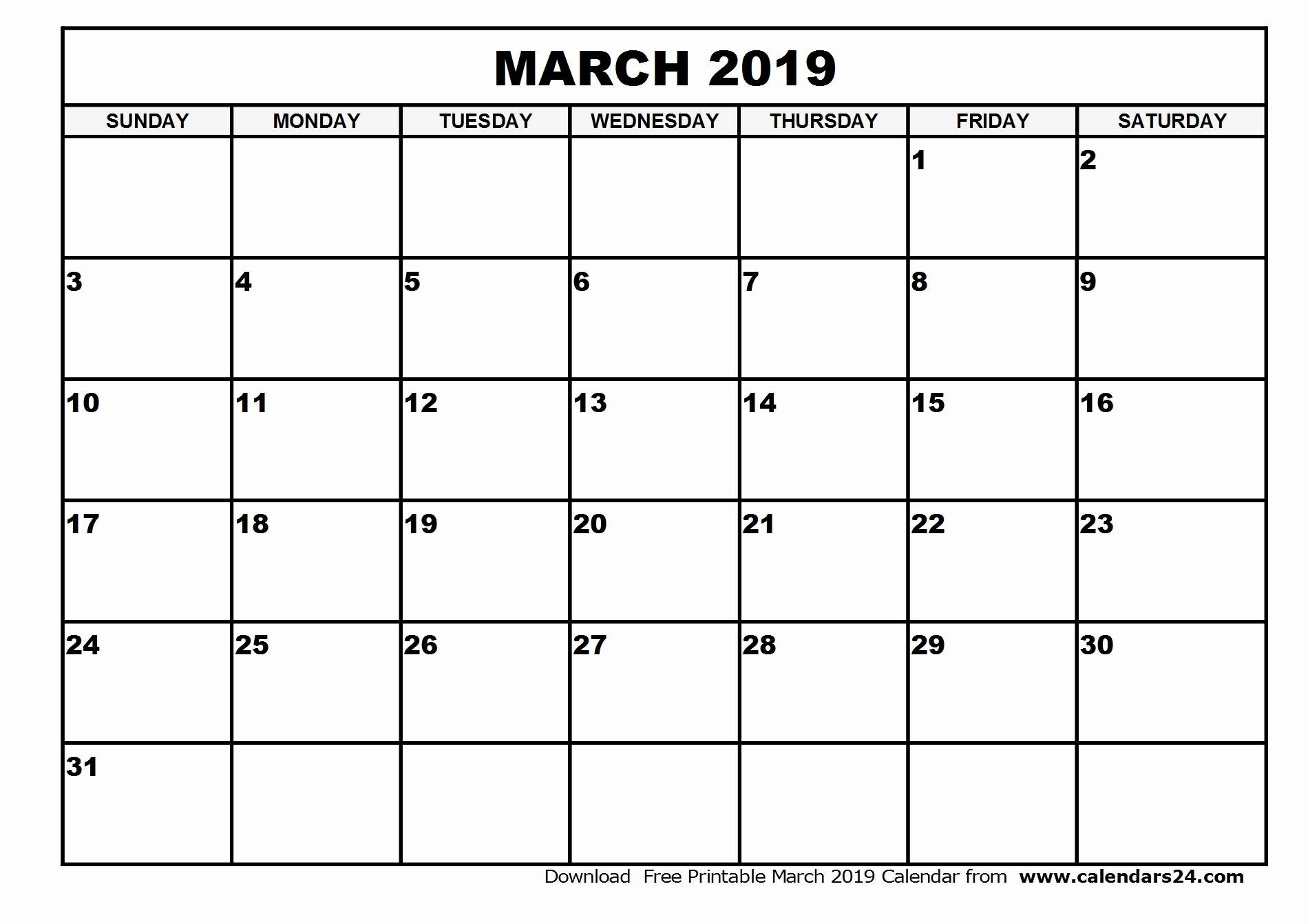 Blank March 2019 Calendar Templates Printable Download - July 2019