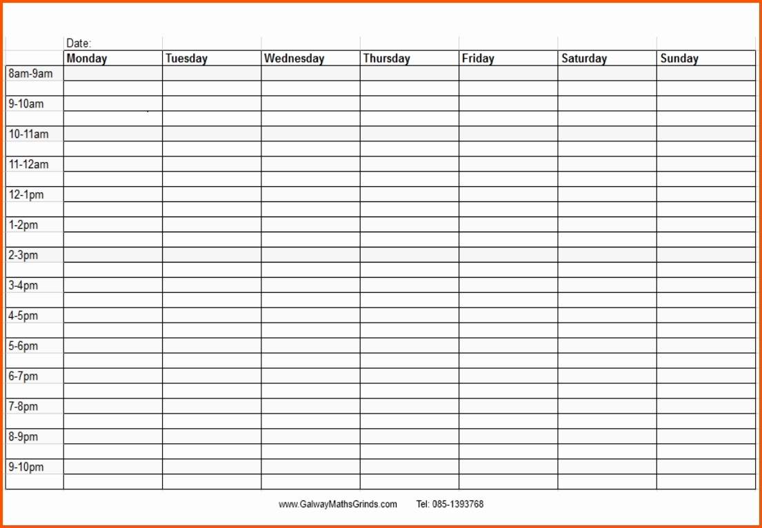Blank Monthly Calendar With Times Template Time And Date Daily Slots