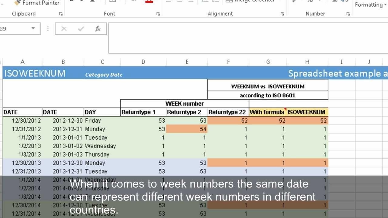 Calculating Week Numbers With Weeknum And Isoweeknum (Excel 2013