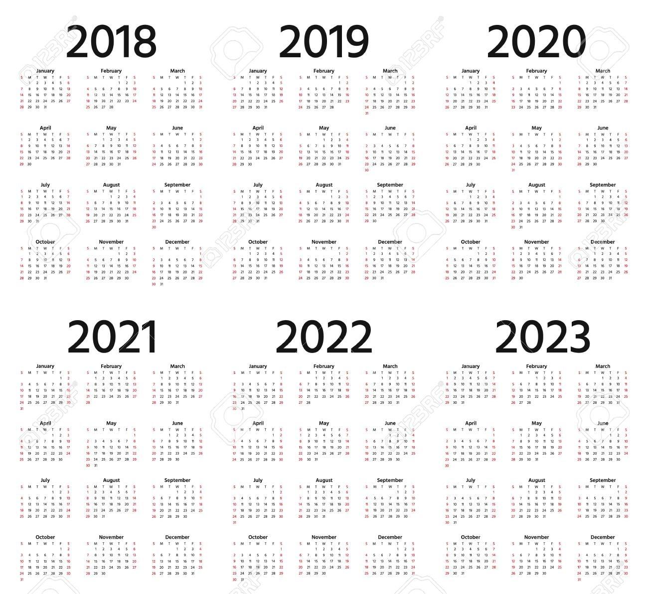 Calendar 2018, 2019, 2020, 2021, 2022, 2023 Year. Week Starts