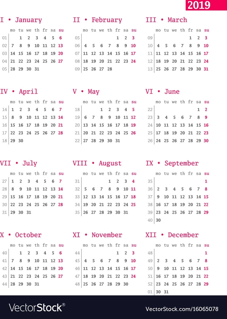 Calendar For 2019 Year With Week Numbers On White Vector Image