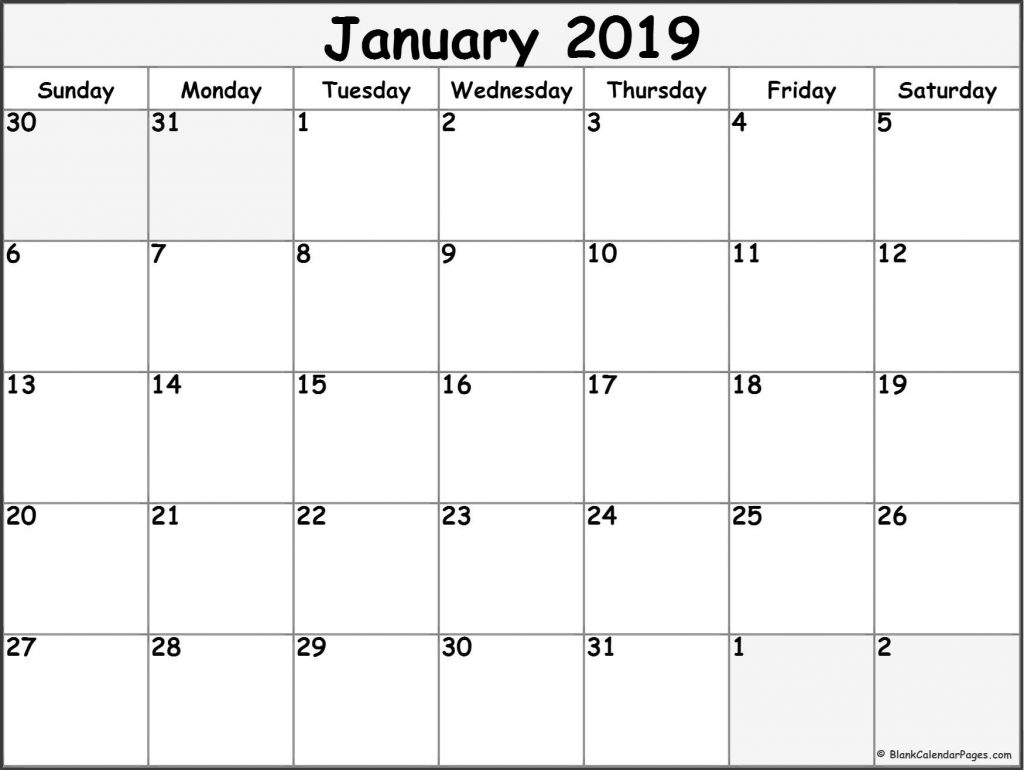 Calendar Of January 2019 - Free Printable Calendar Templates Blank